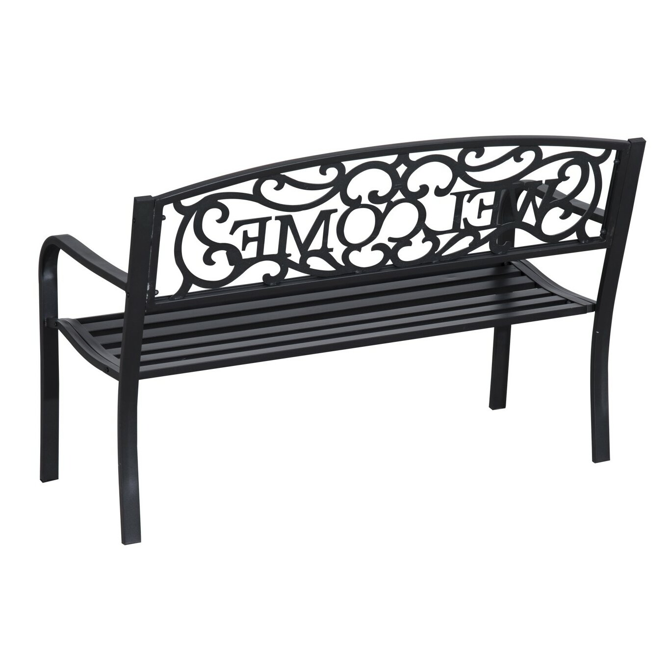 Outsunny welcome vines decorative steel garden bench reviews wayfair Decorative benches