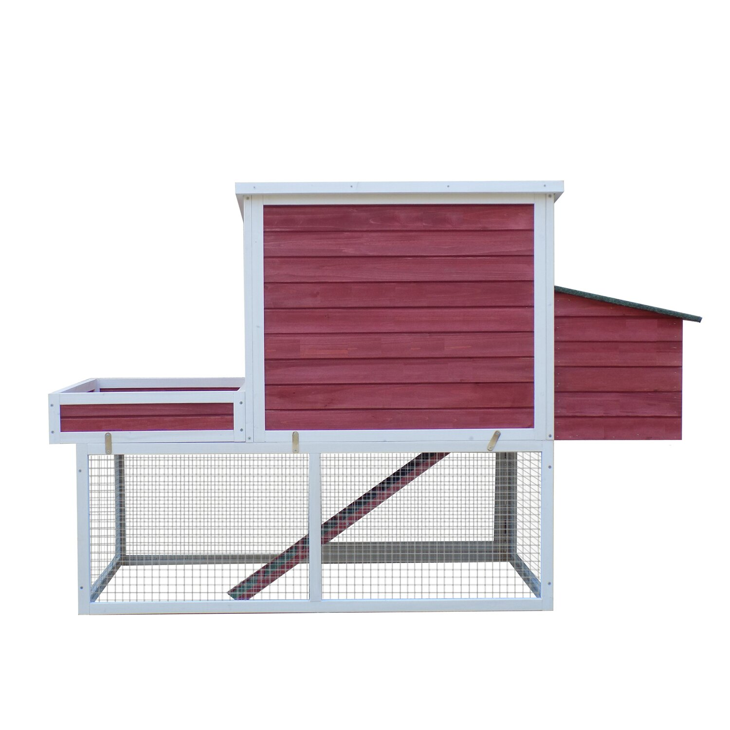 Glass Nesting Boxes : Pawhut farmhouse chicken coop with display top run area
