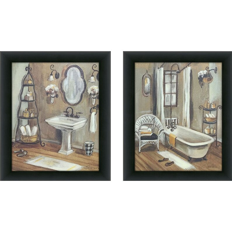 "PicturePerfectInternational ""Bathroom"" 2 Piece Framed ..."