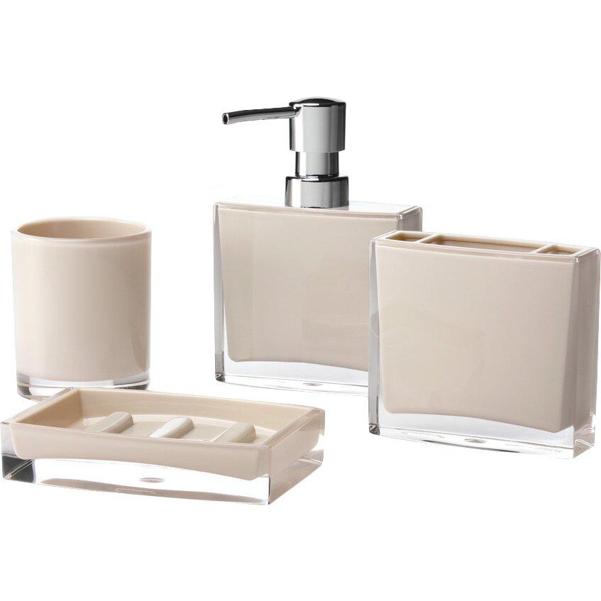 Immanuel iced 4 piece bathroom accessory set reviews for Bathroom 4 piece set