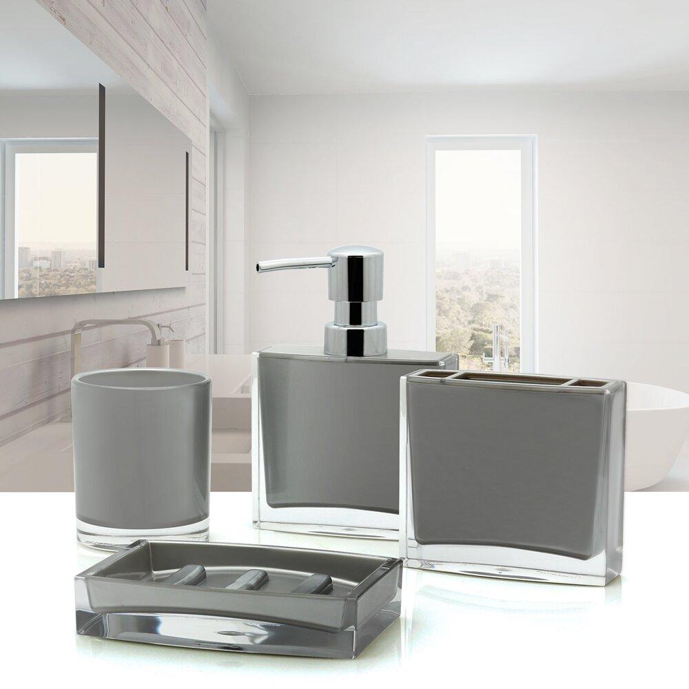 Wayfair Bathroom Accessories Immanuel Iced 4 Piece Bathroom Accessory Set Reviews Wayfair