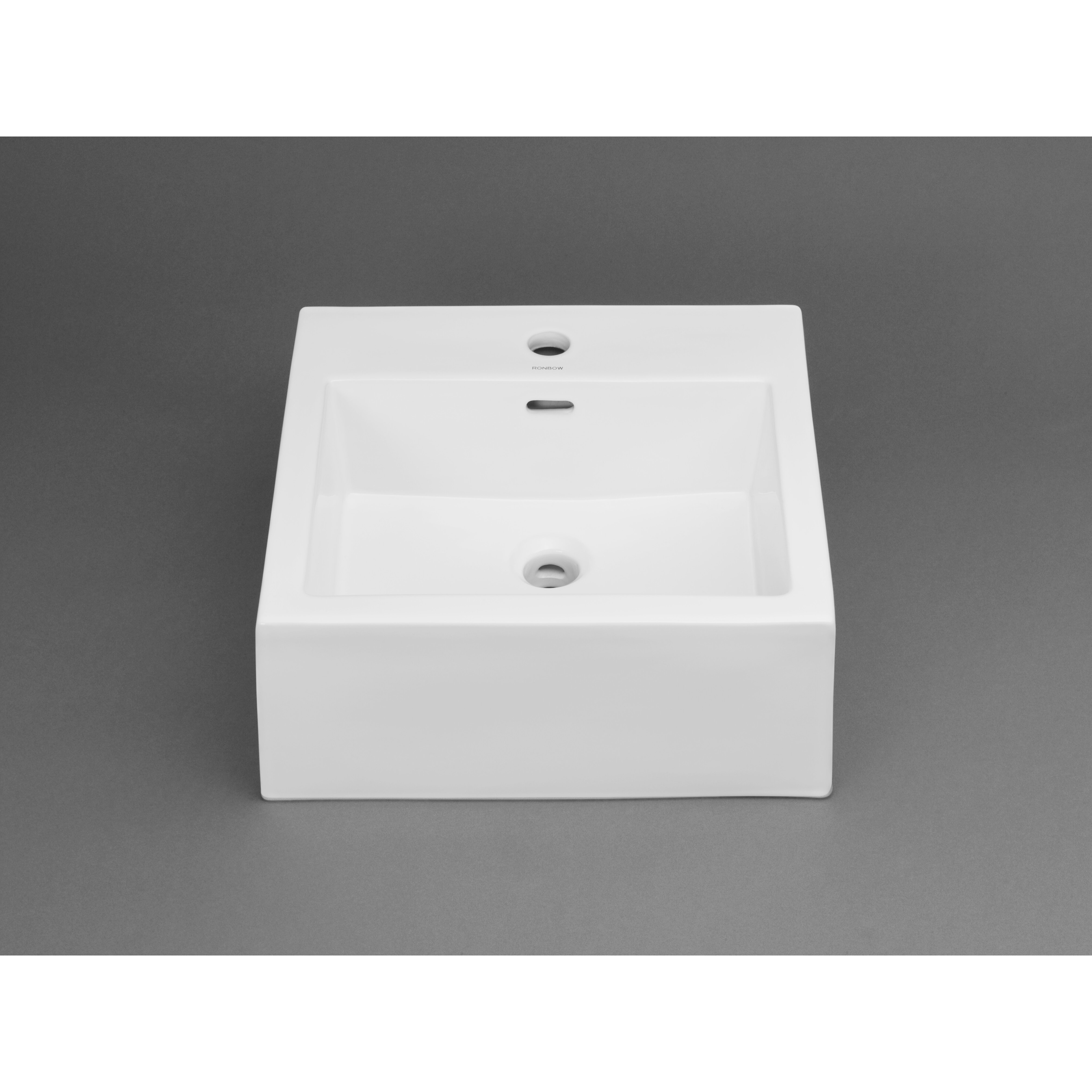 Bathroom square vessel sinks - Ronbow Ceramic Square Vessel Bathroom Sink With Overflow