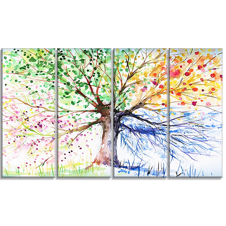 Designart four seasons tree floral 4 piece painting print for 4 seasons decoration