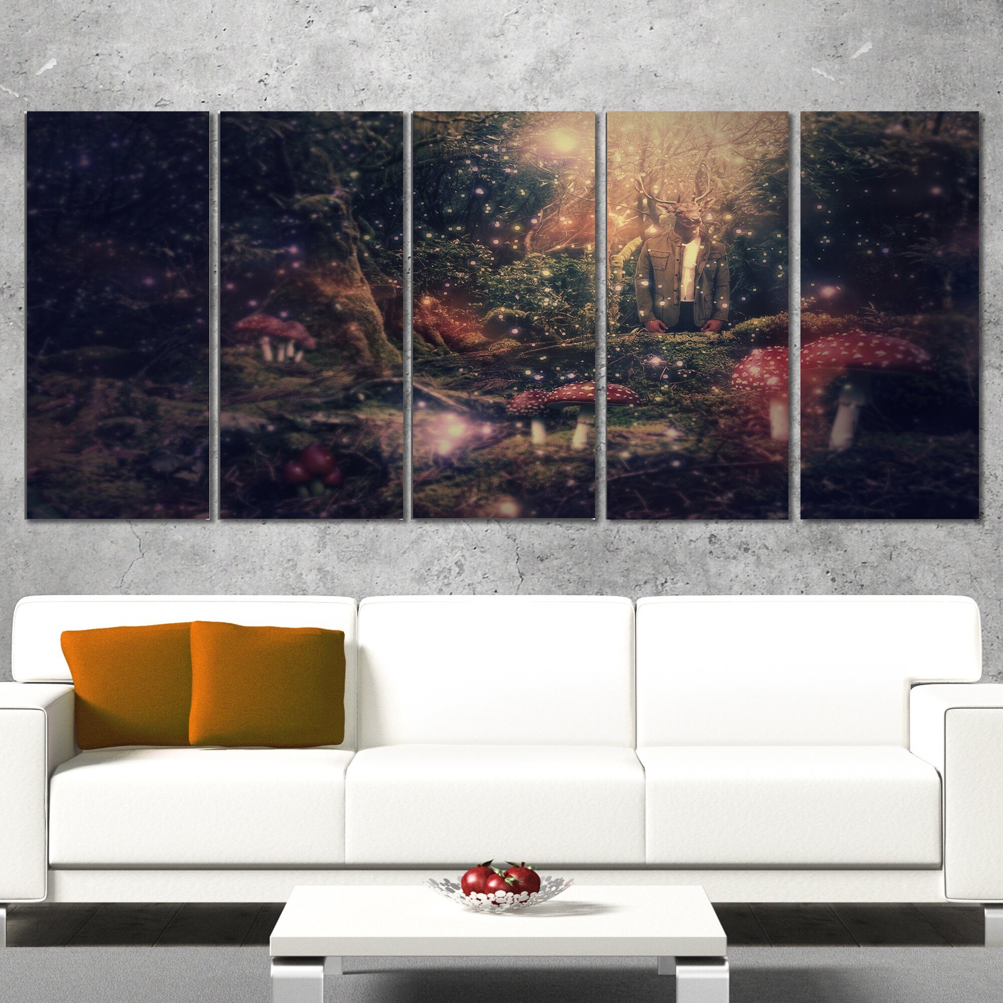 DesignArt Abstract Collage Art 5 Piece Wall Art On Wrapped
