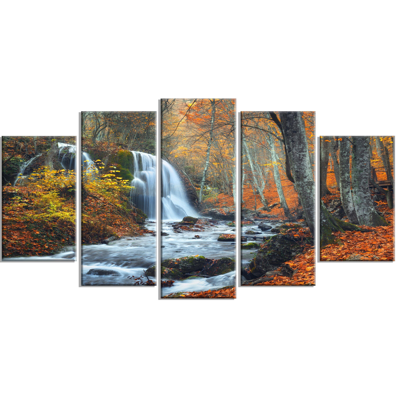 Designart 39 autumn mountain waterfall 39 5 piece wall art on for Waterfall set design