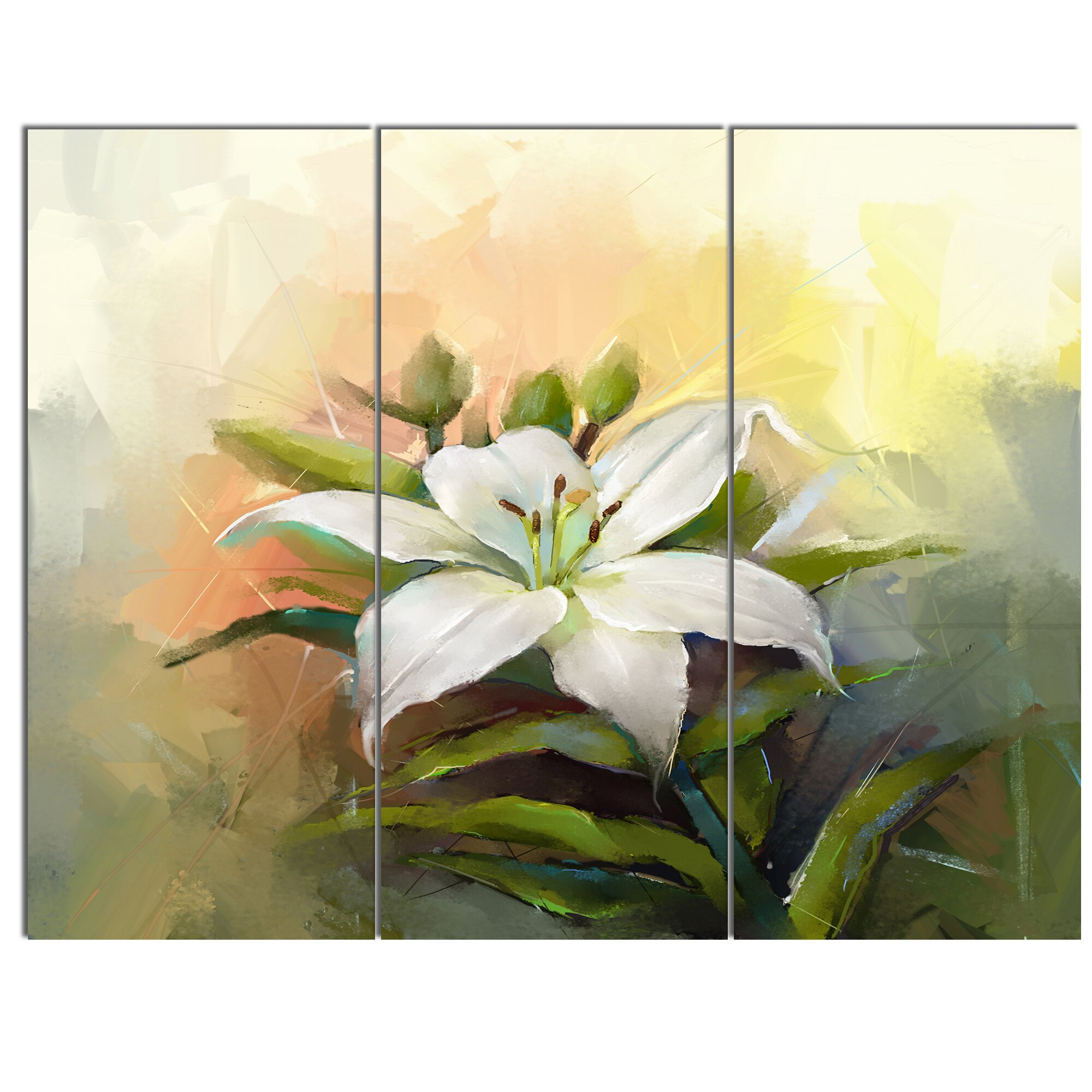 DesignArt White Lily Flower Oil Painting 3 Piece Painting Print on