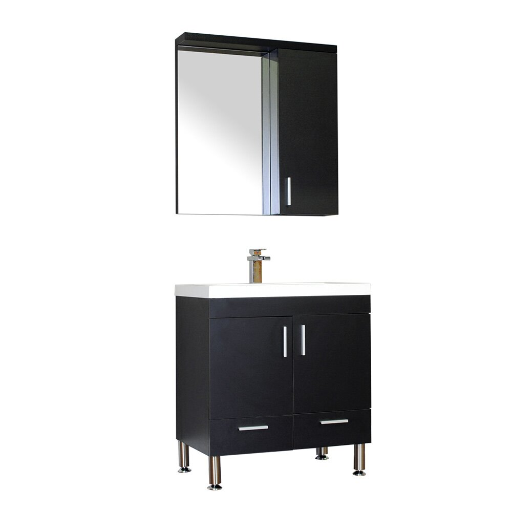 Alya bath ripley 30 single modern bathroom vanity set with mirror reviews wayfair - Kona modern bathroom vanity set ...