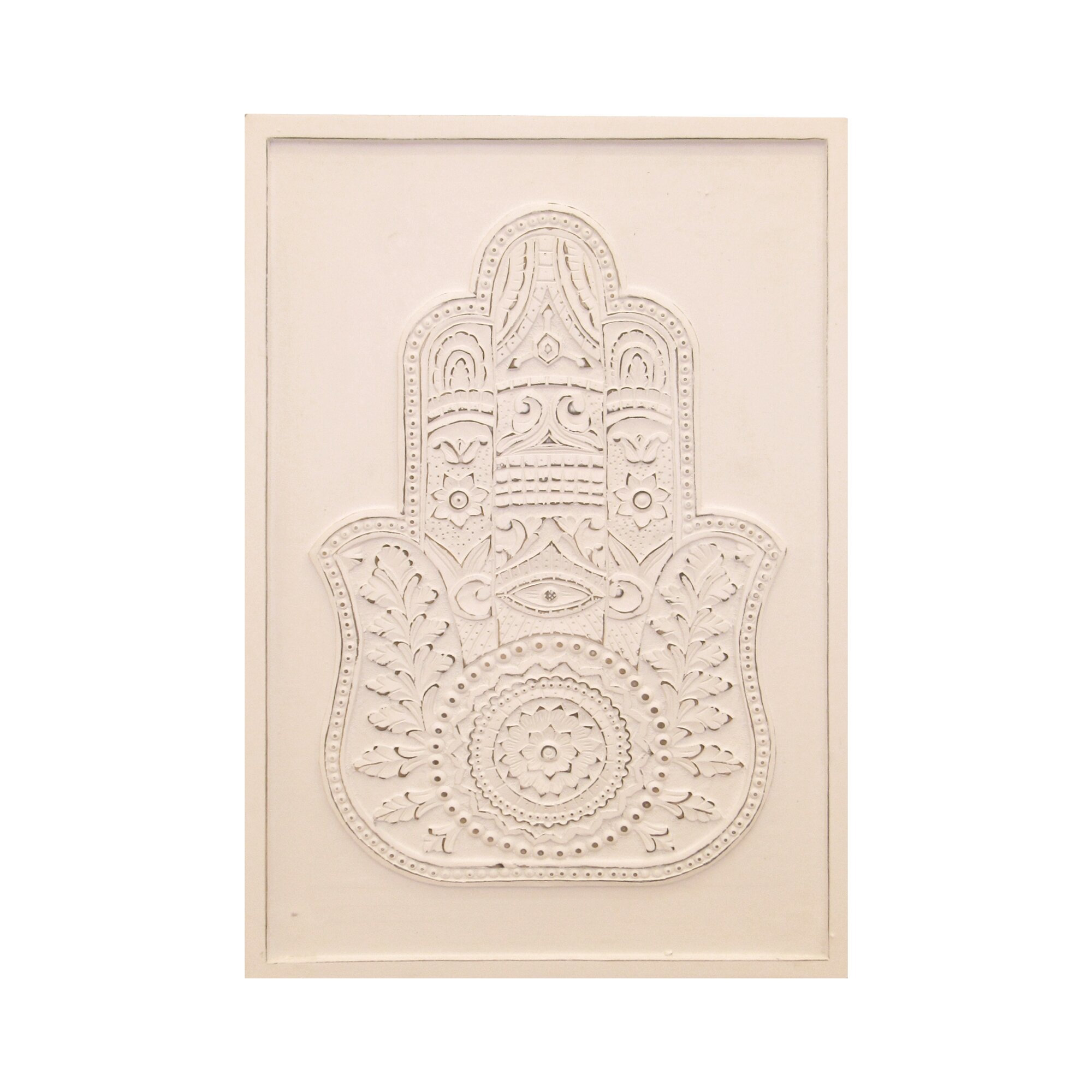 Wood Carved Wall Decor Leilas Home Living Hamsa Hand Embossed And Carved Wood Graphic