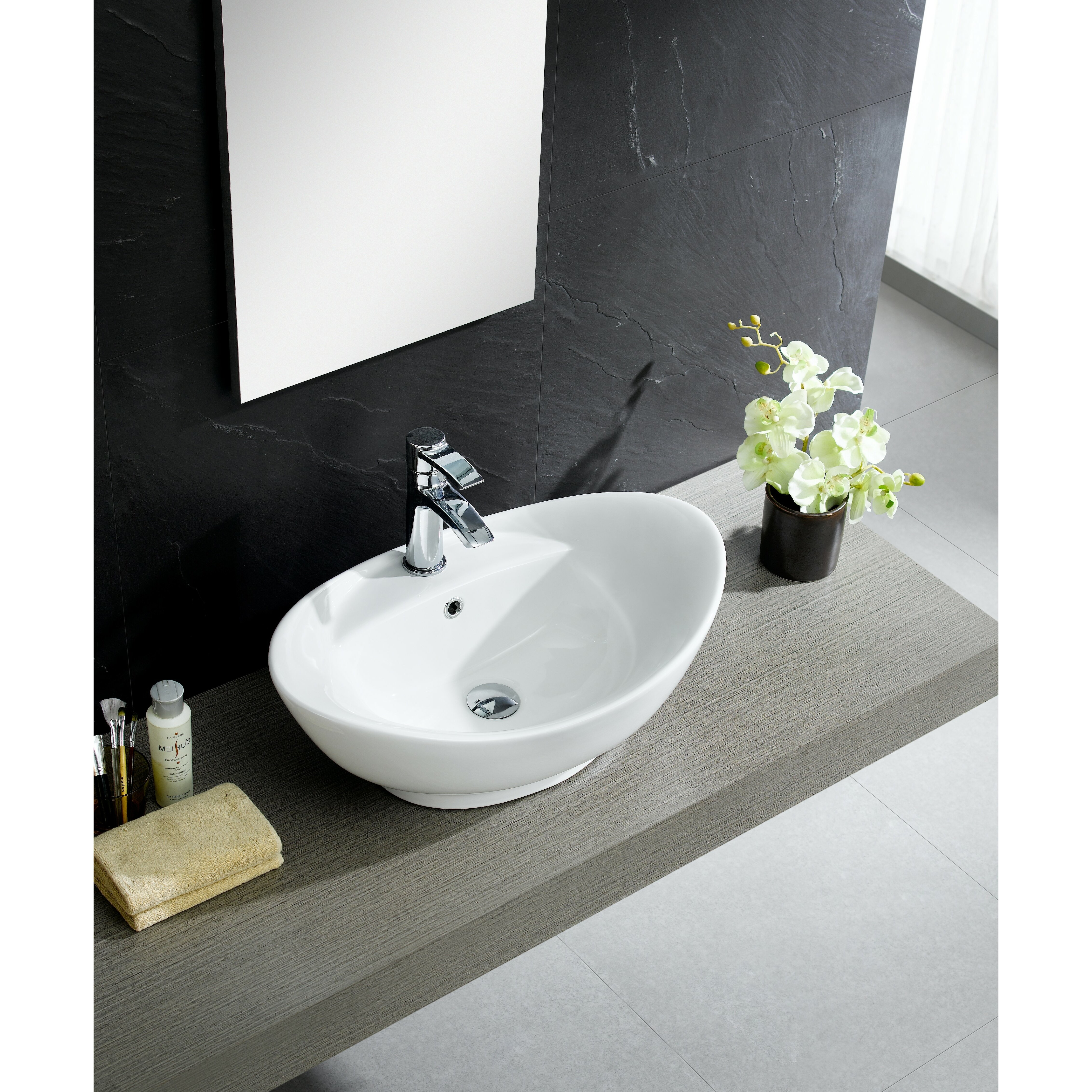 Fixtures Modern Vitreous Large Oval Vessel Sink Vessel Bathroom Sink ...
