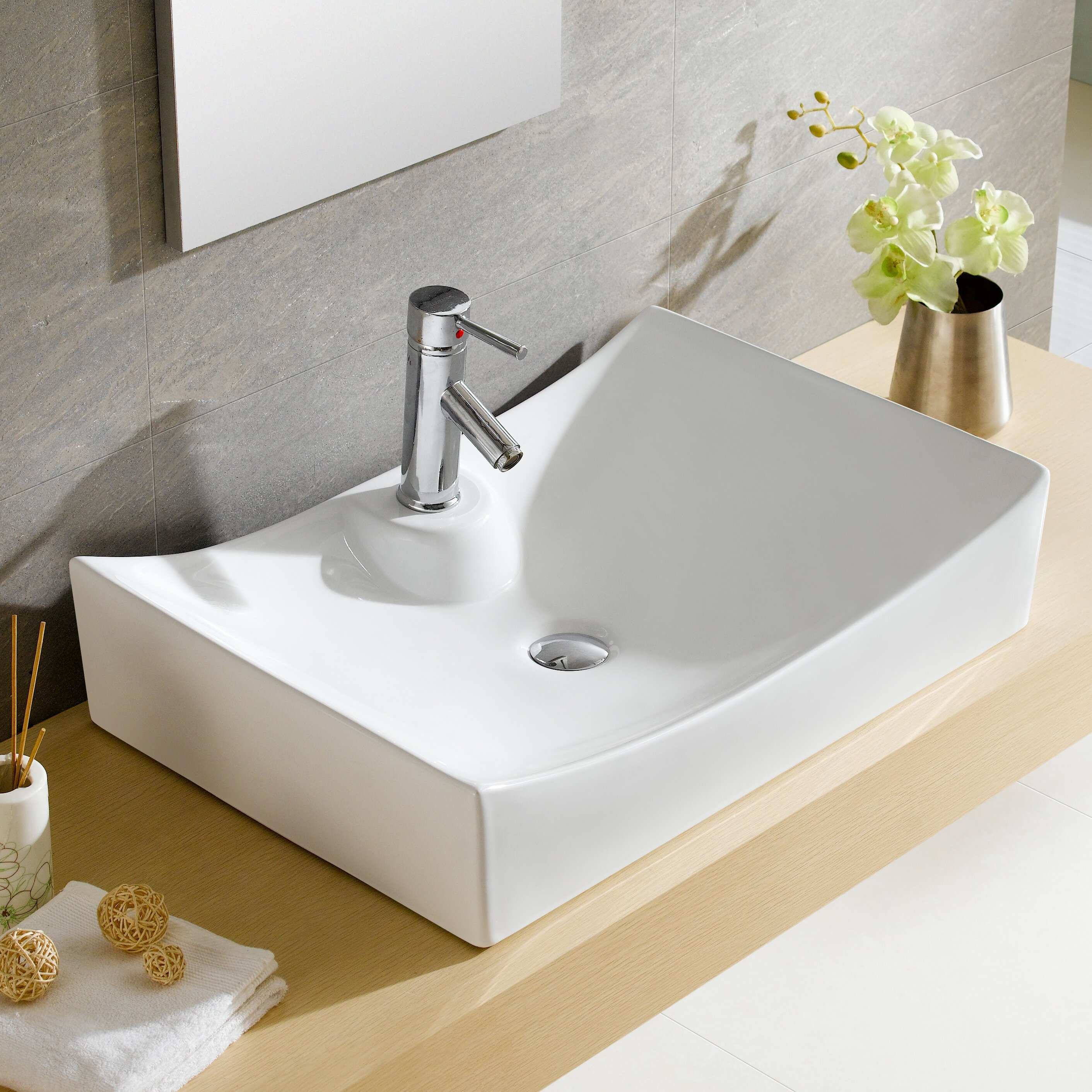 Bathroom Sink Material Fine Fixtures Modern Vitreous Rectangular Vessel Bathroom Sink