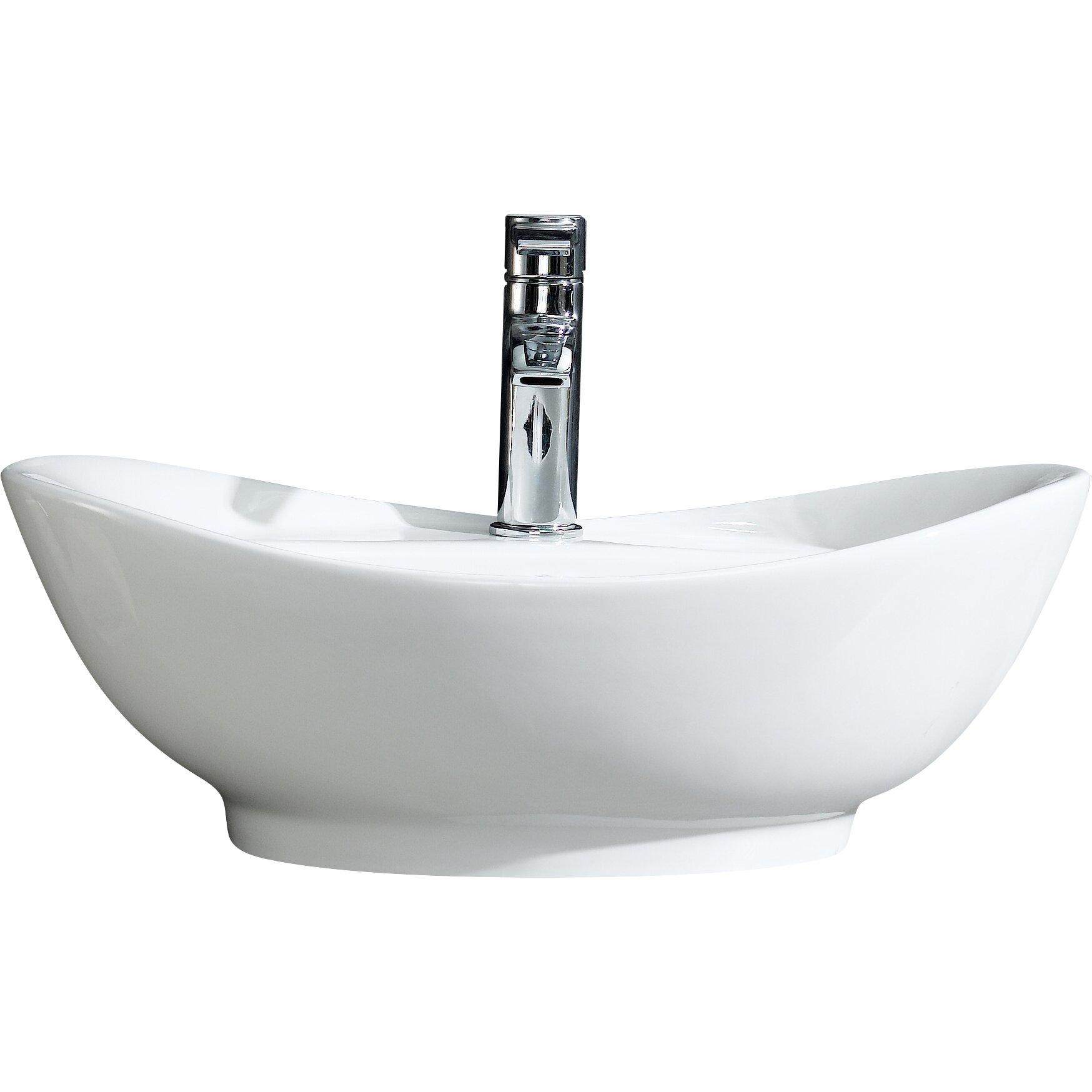 Fine Fixtures Modern Vitreous Large Oval Vessel Bathroom