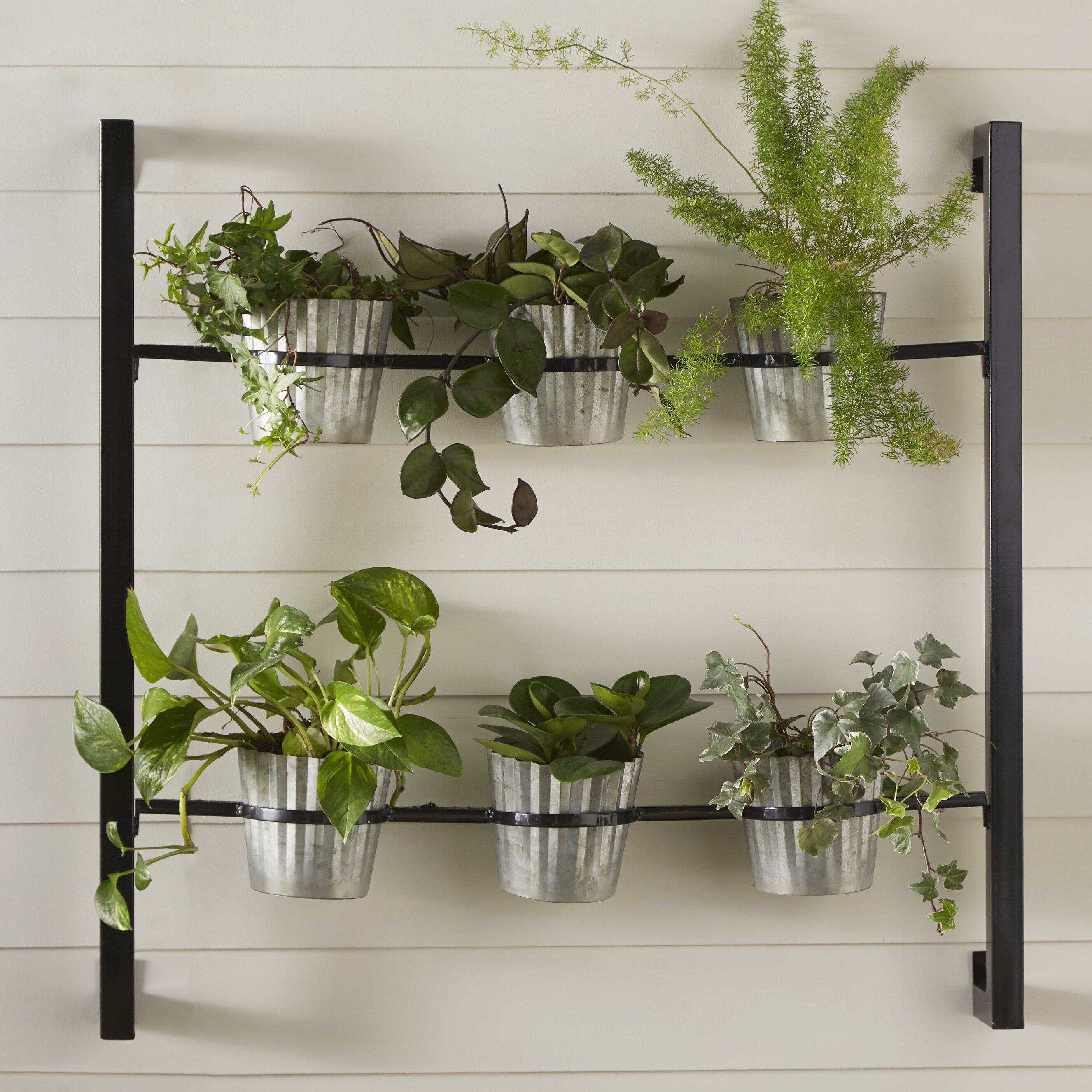 kate and laurel 6 piece groves metal wall planter set. Black Bedroom Furniture Sets. Home Design Ideas