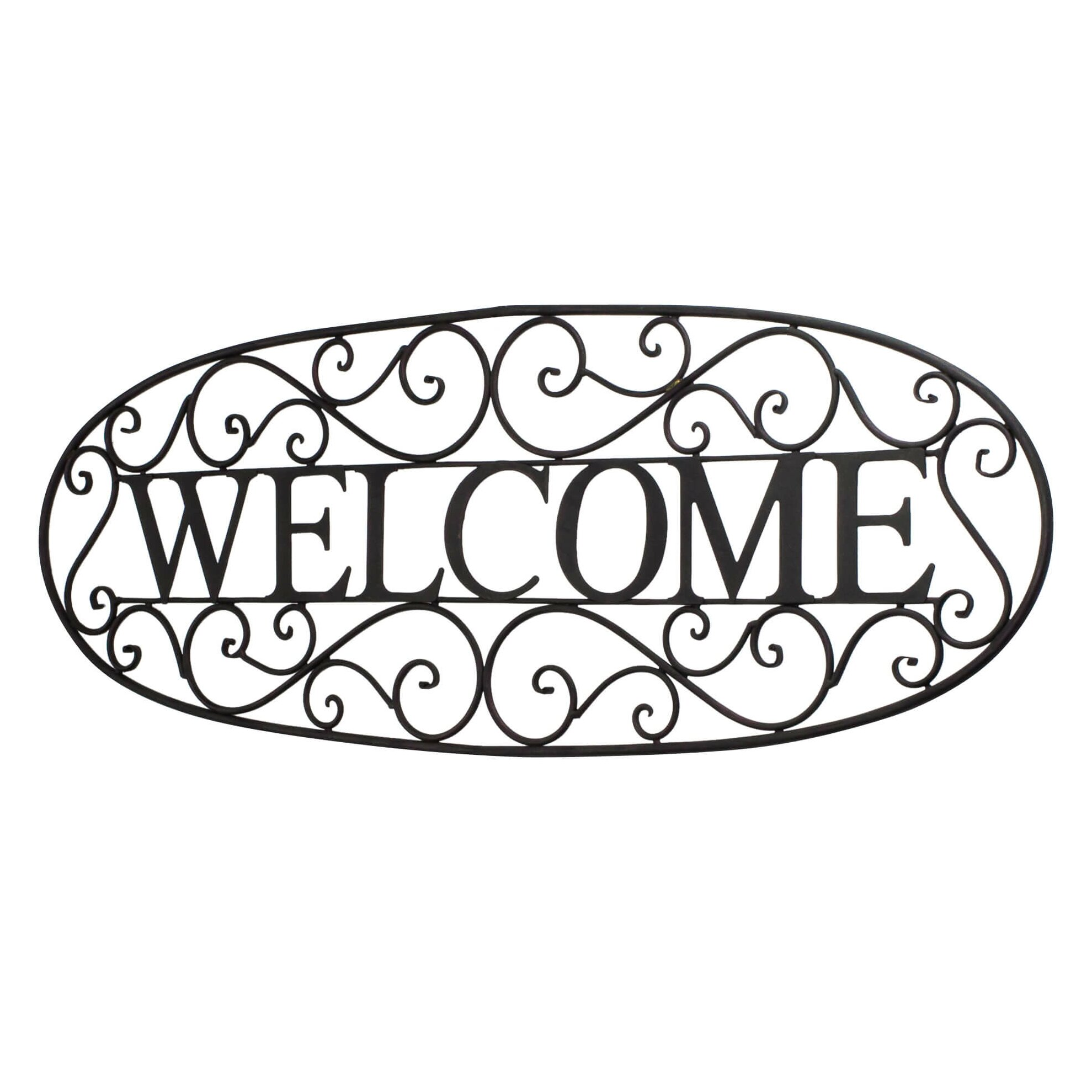 Black Iron Wall Decor Bayaccents Welcome Sign Wrought Iron Wall Dccor Reviews Wayfair