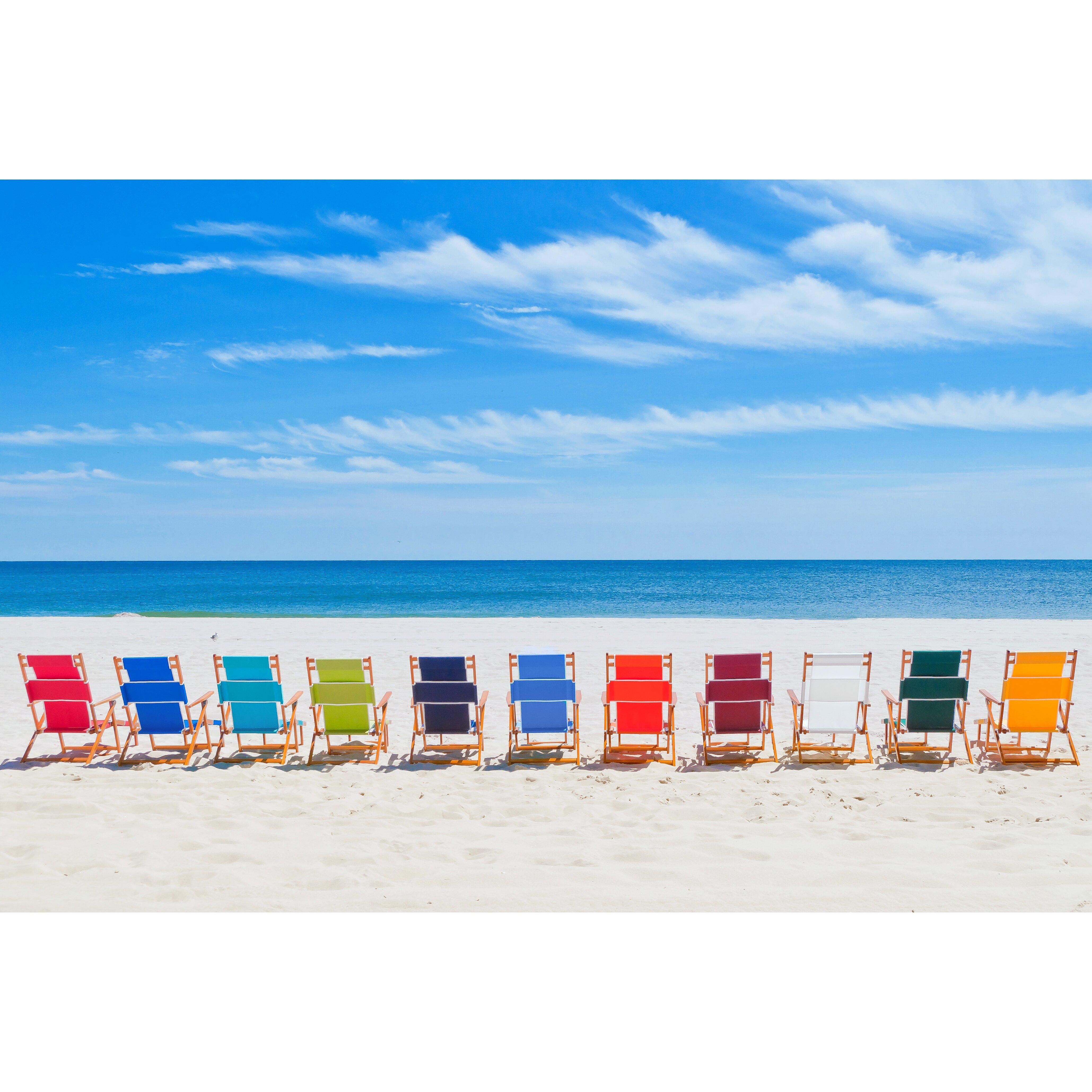 Breakwater Bay Portsville Oak Wood Commercial Grade Beach Chair .