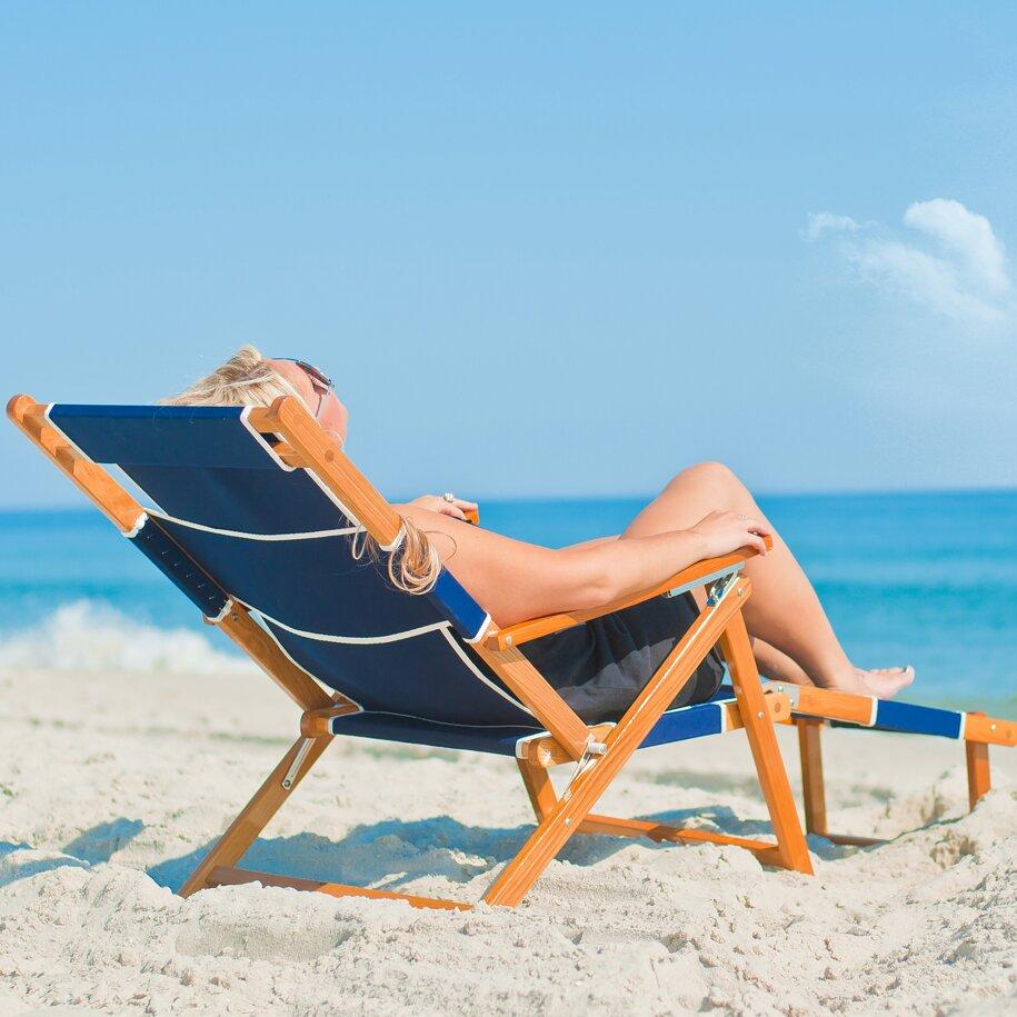 ... Portsville Oak Wood Commercial Grade Beach Chair & Reviews | Wayfair