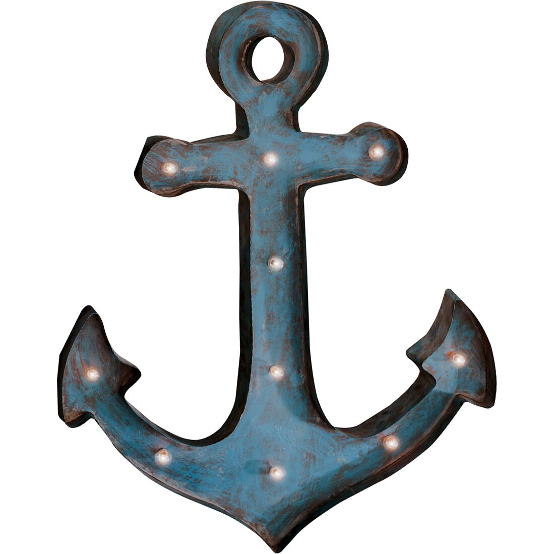 Breakwater Bay Anchor Blue Metal LED Wall Du0026eacute;cor