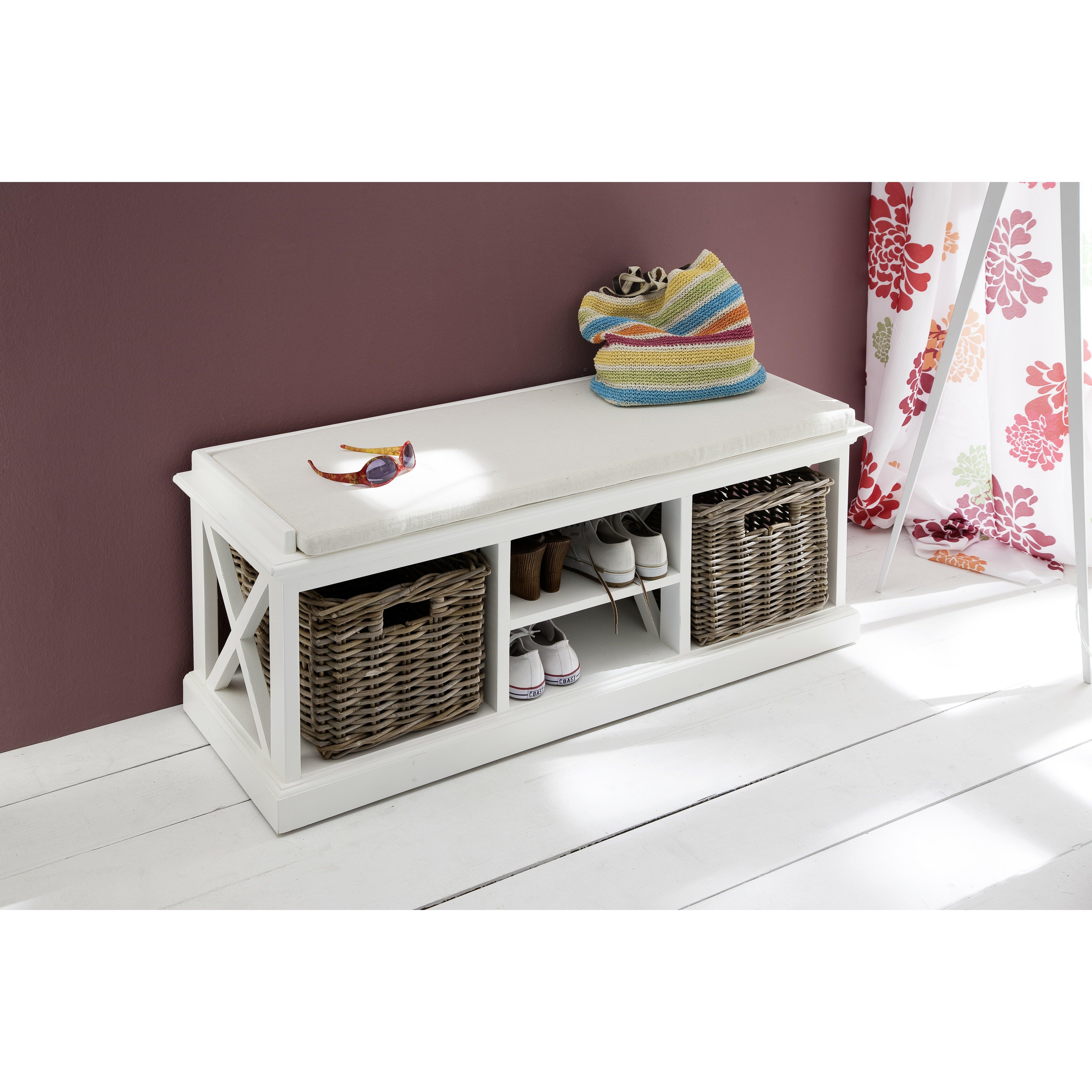 Burlington storage bench with baskets reviews joss main for Banc rangement salle de bain