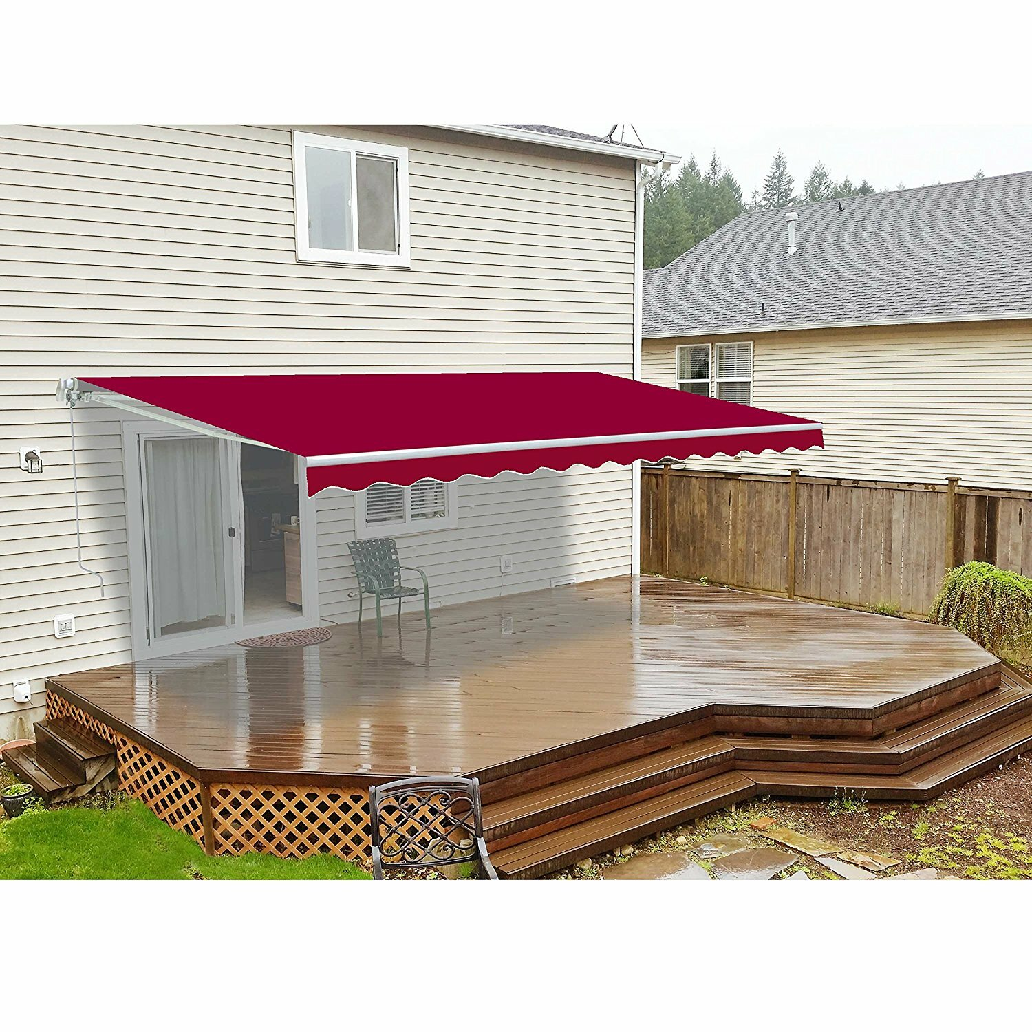 Aleko Retractable Motorized Patio 20ft. W X 10ft. D Awning