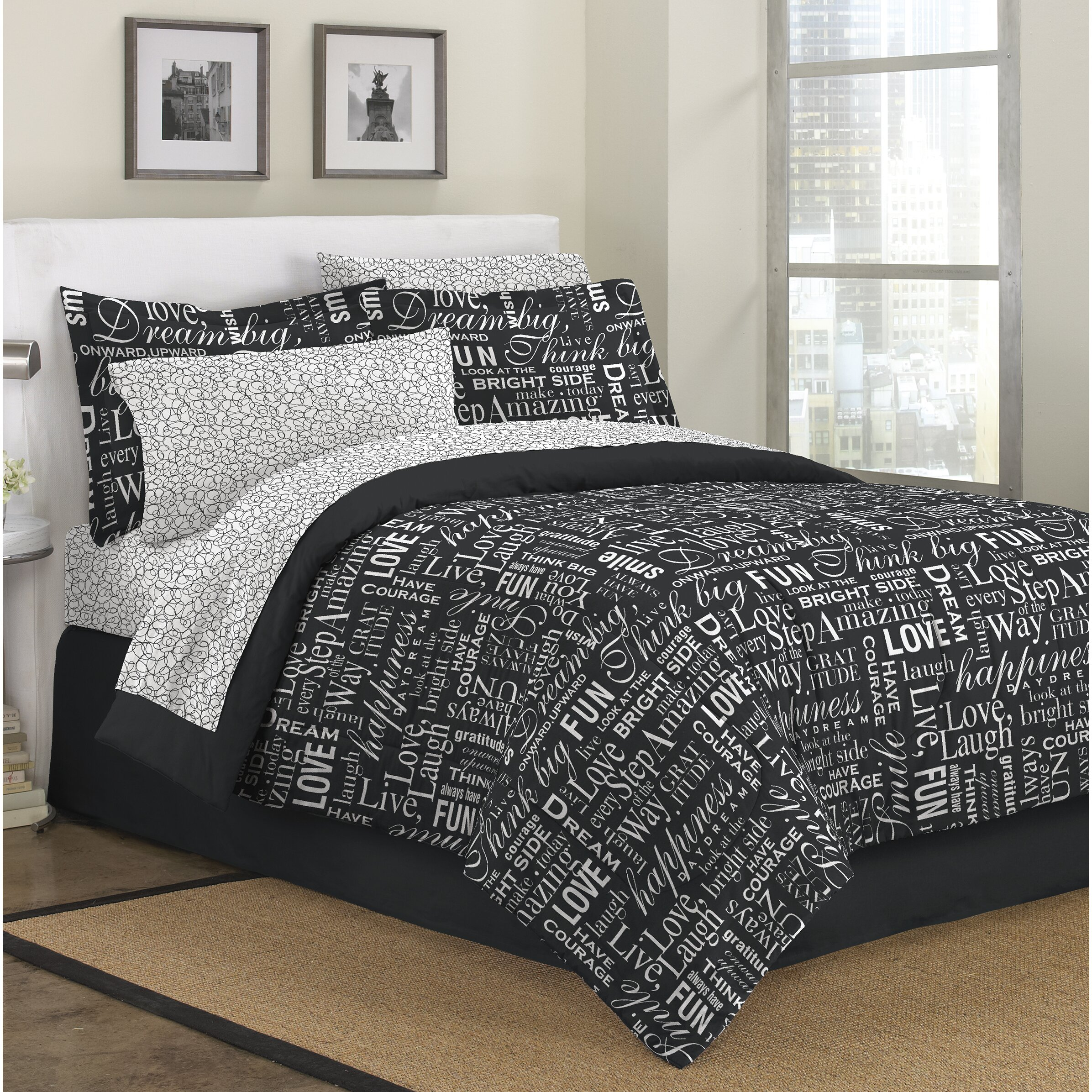 First At Home Live Love Laugh 6 Piece Bed In A Bag Set