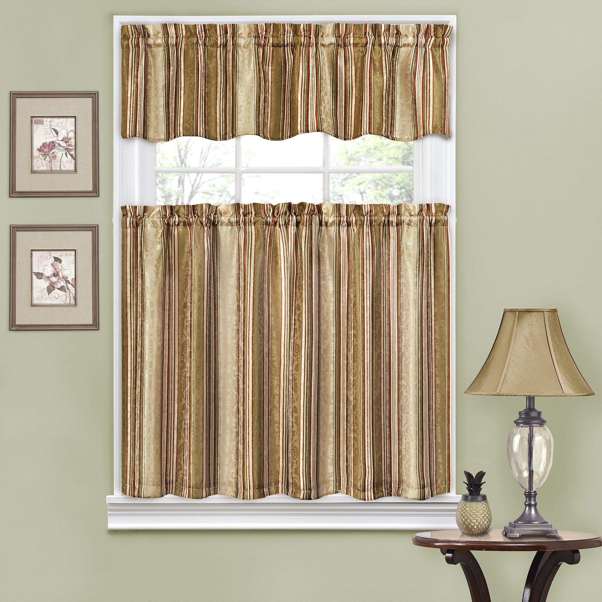 "Traditions By Waverly Stripe Ensemble 52"" Valance And Tier"