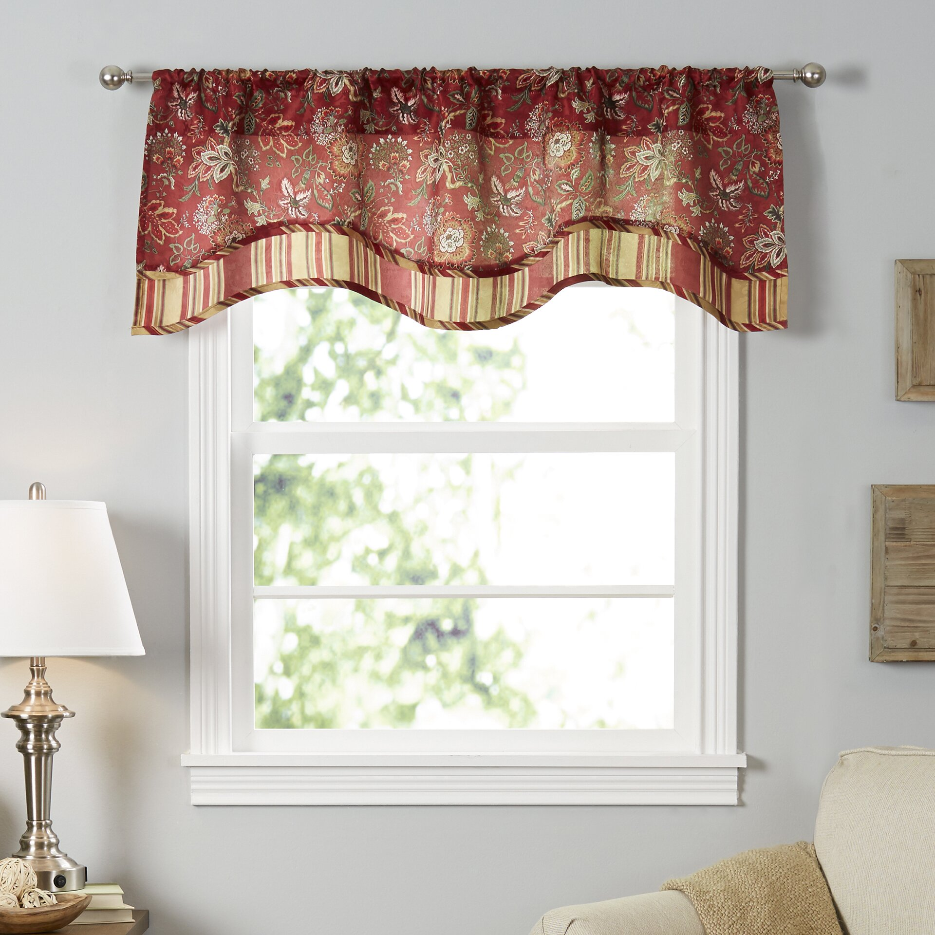 "Traditions By Waverly Navarra Floral 52"" Curtain Valance"