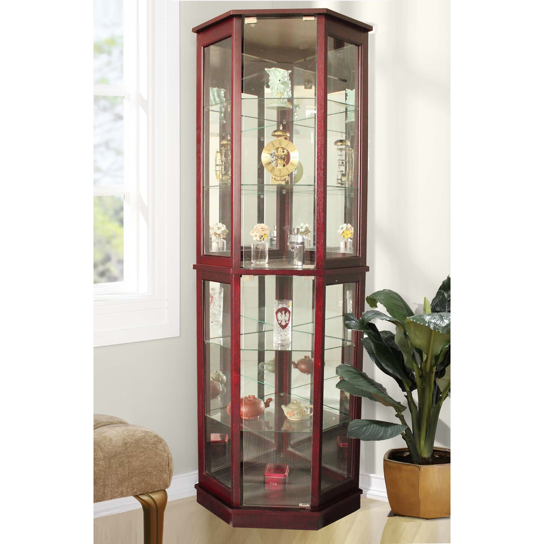 Corner Kitchen Curio Cabinet Rosalind Wheeler Arturo Corner Curio Cabinet Reviews Wayfair