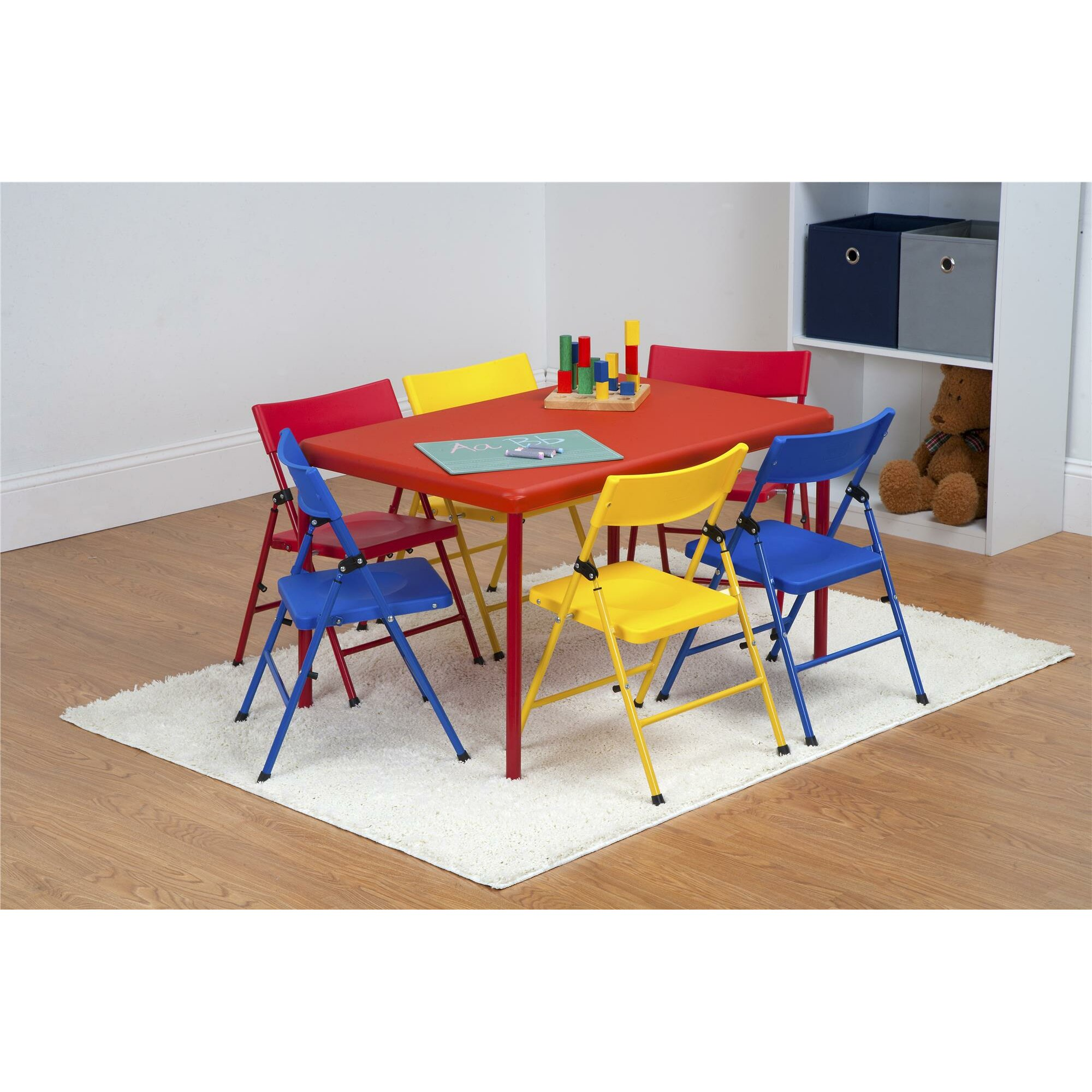 Zoomie kids adrian kids 7 piece rectangular table and for Kid craft table and chairs
