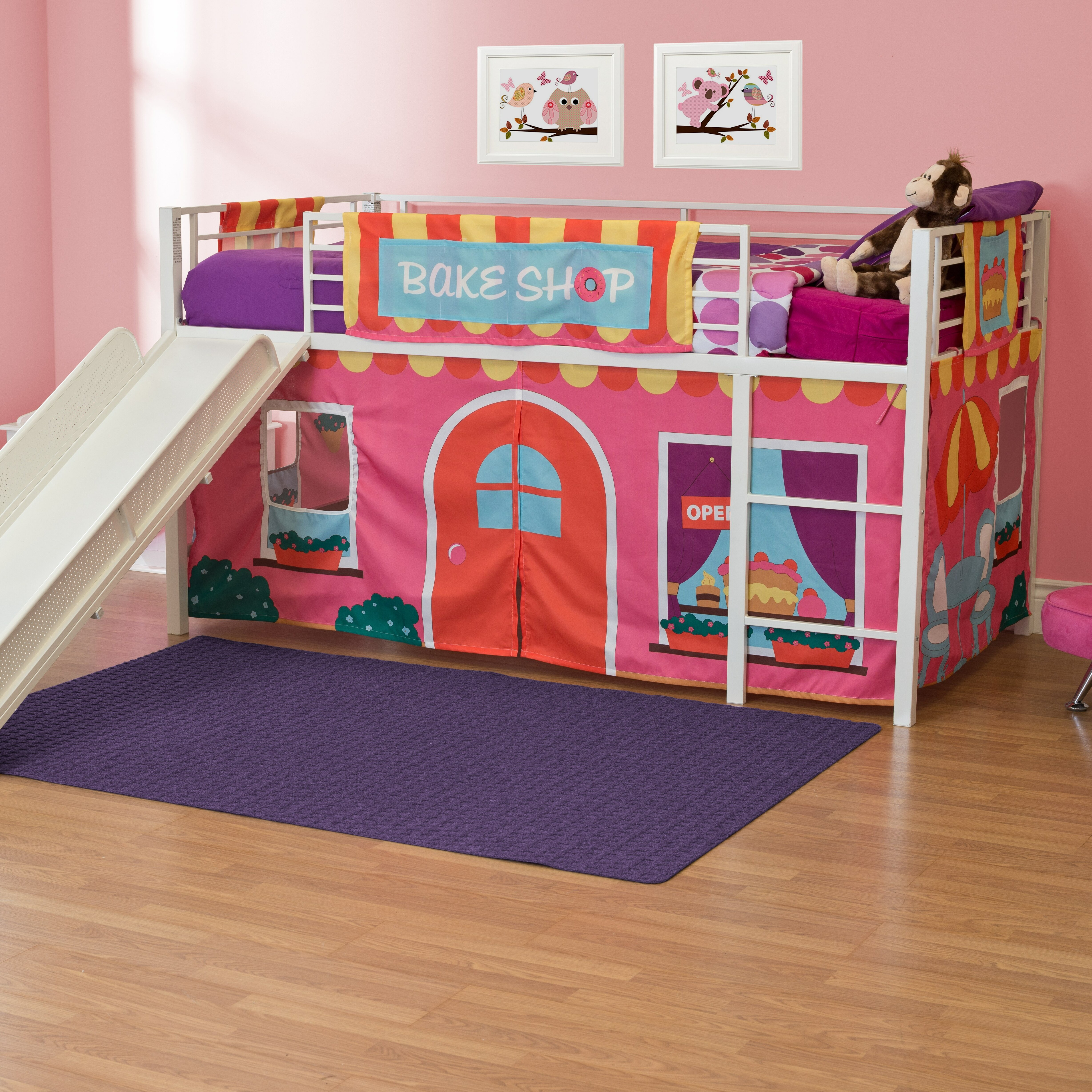 zoomie kids catalina junior twin loft bed with slide. Black Bedroom Furniture Sets. Home Design Ideas