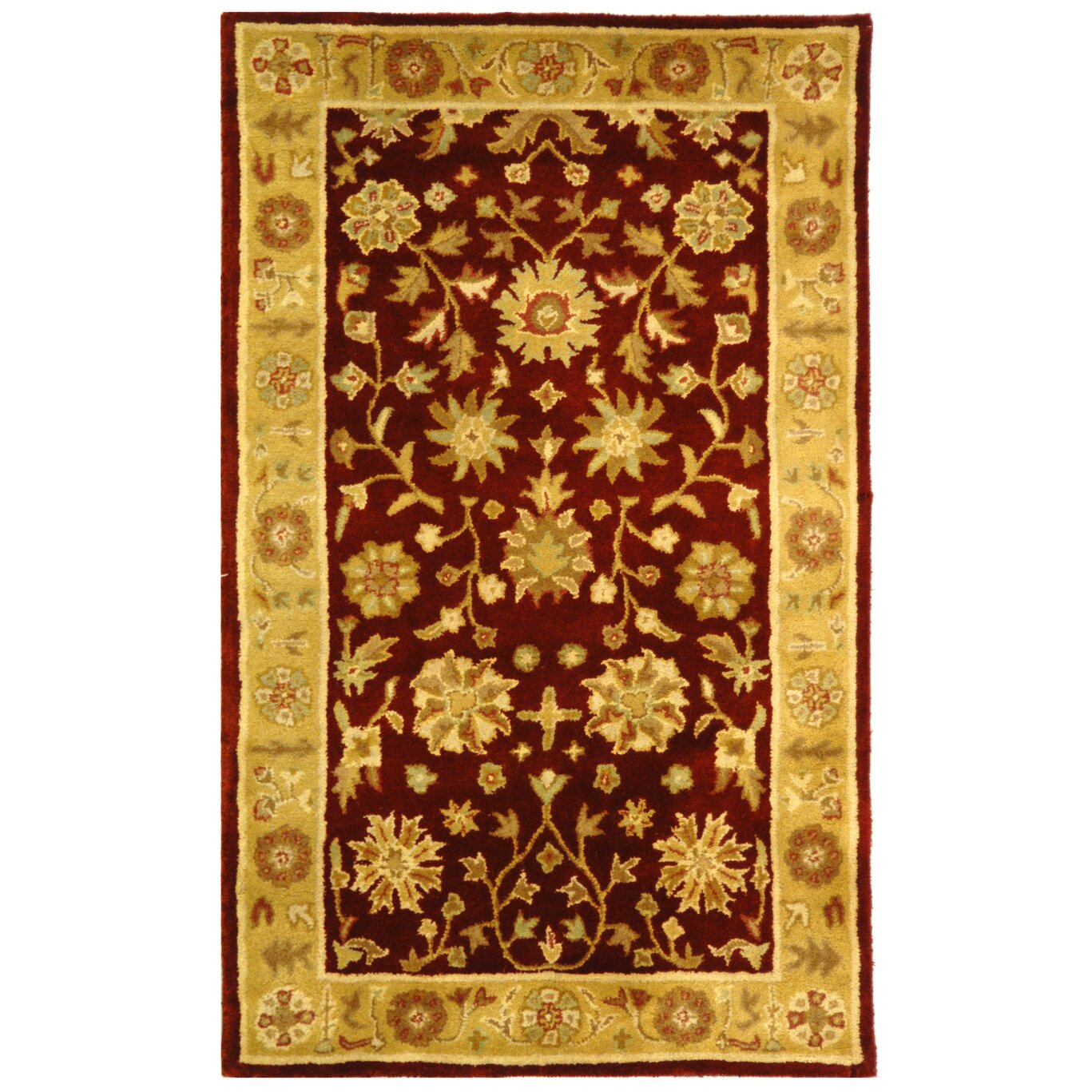 Hand Tufted Agra Red Gold Wool Rug 8 Round: Red And Gold Rug