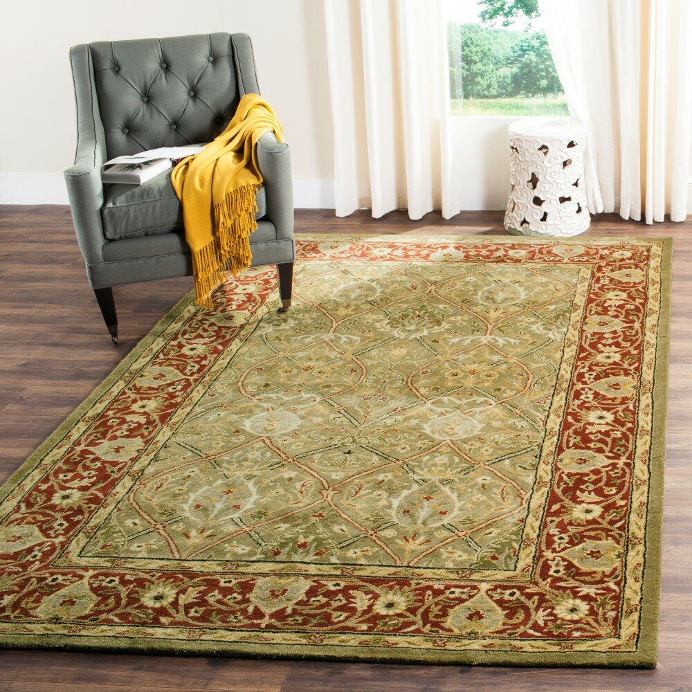 Safavieh Pl537a Persian Legend Wool Hand Tufted Rust Navy: Parvati Green & Rust Oriental Wool Hand-Tufted Area Rug