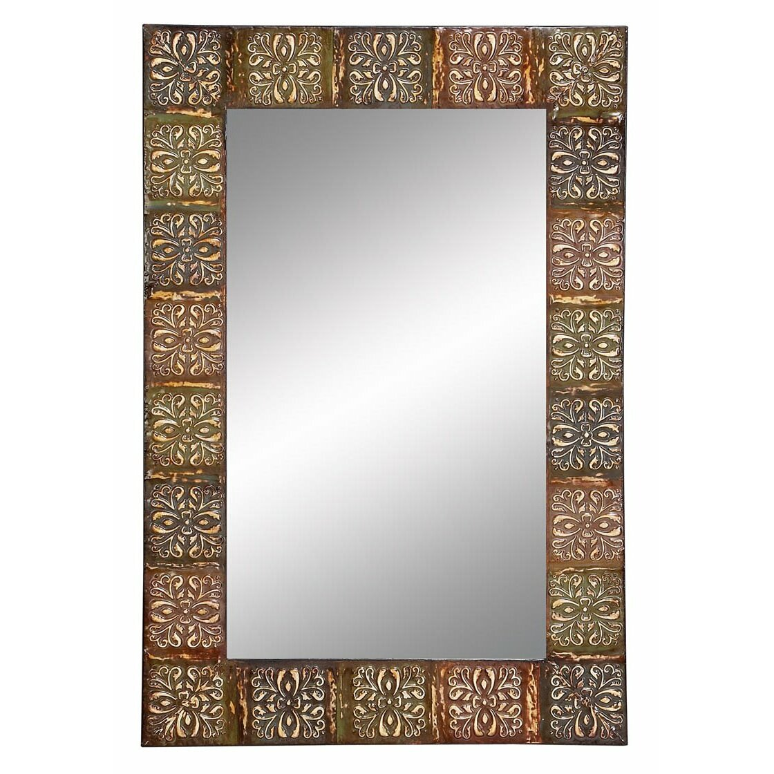 world menagerie embossed metal frame wall mirror