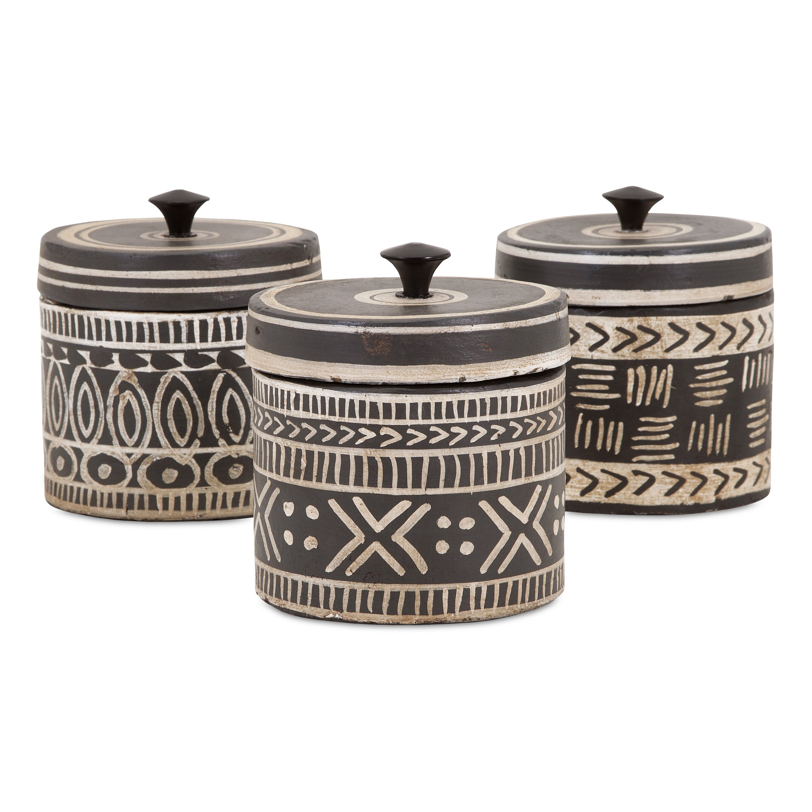 world menagerie tribal lidded 3 piece kitchen canister set honey can do 3 piece kitchen canister set amp reviews