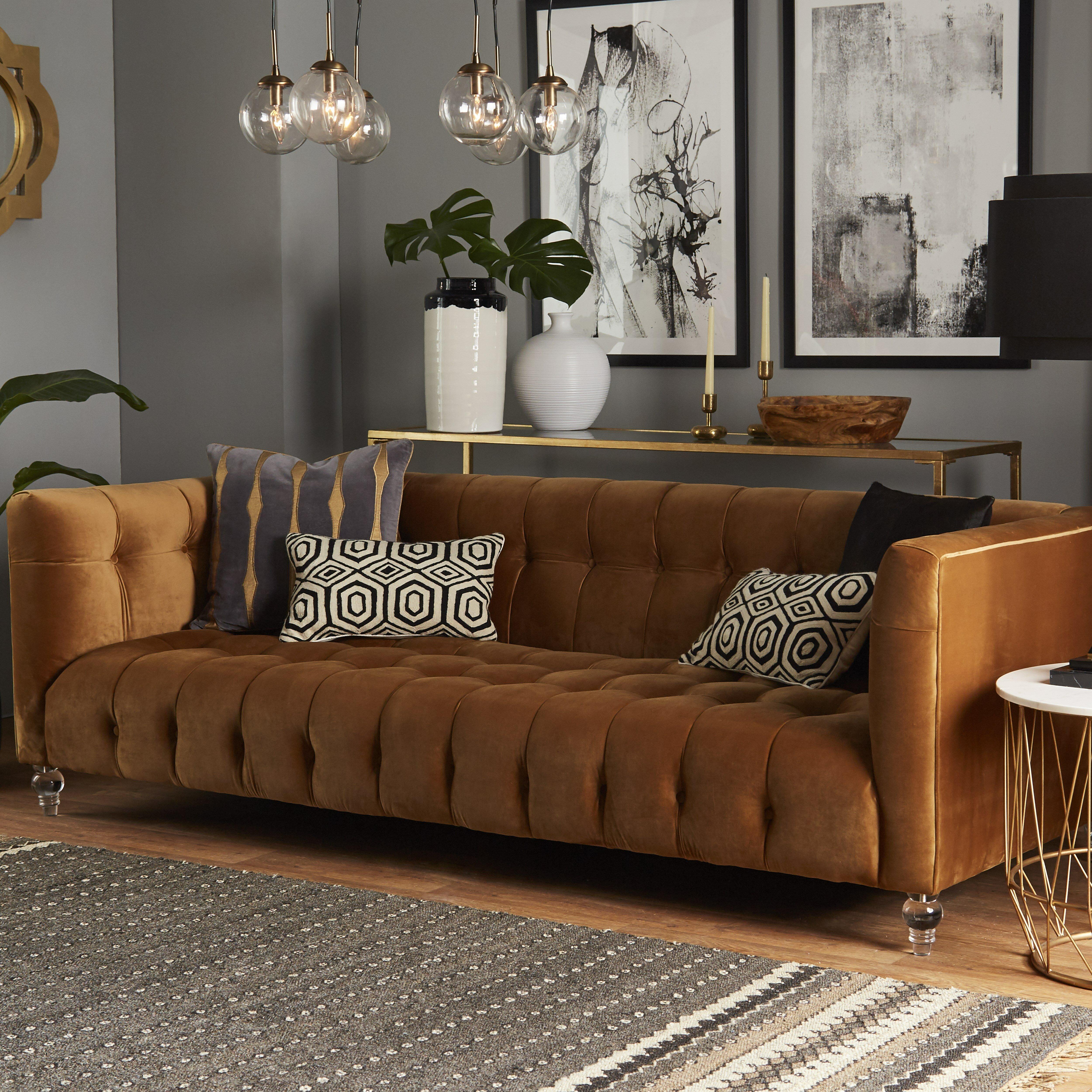 Mercer41 Saffron Cognac Velvet Sofa Amp Reviews Wayfair