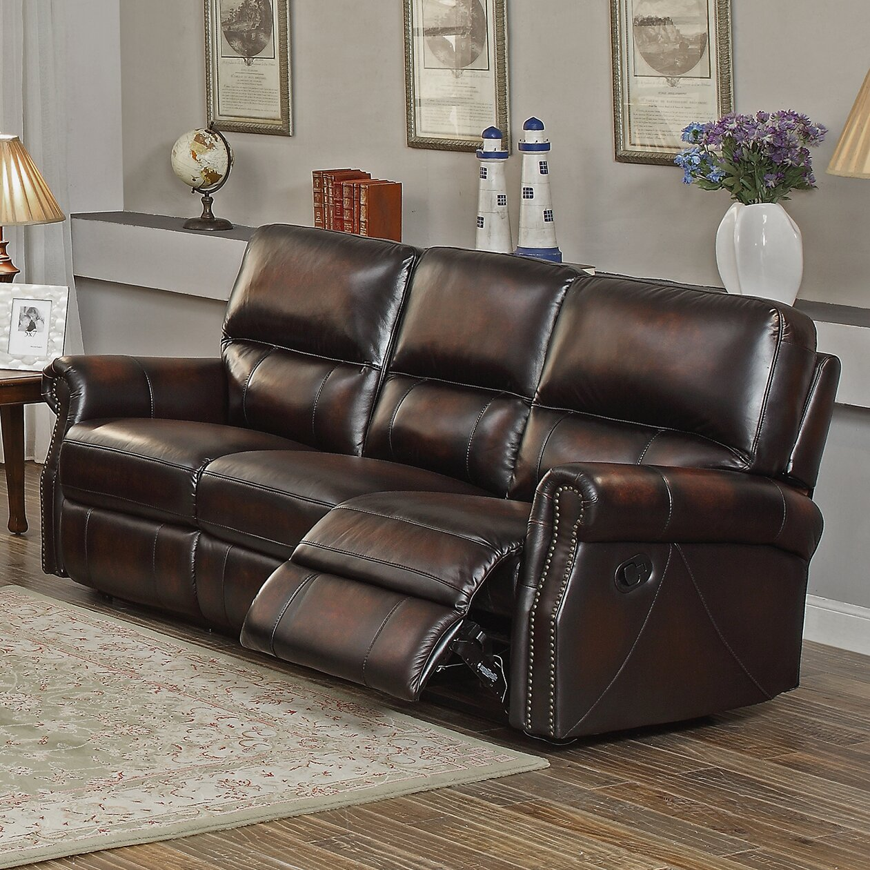 Amax nevada 3 piece leather living room set