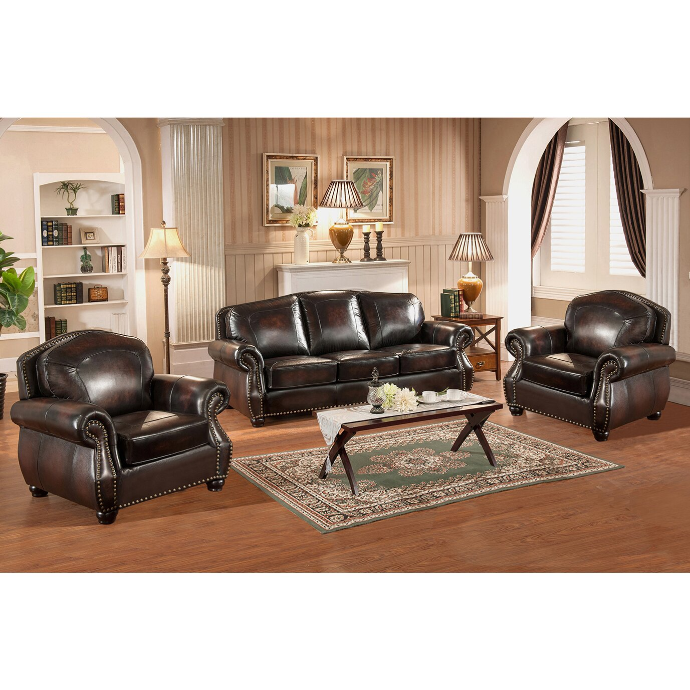 3 piece leather living room set amax vail 3 leather living room set wayfair ca 24609