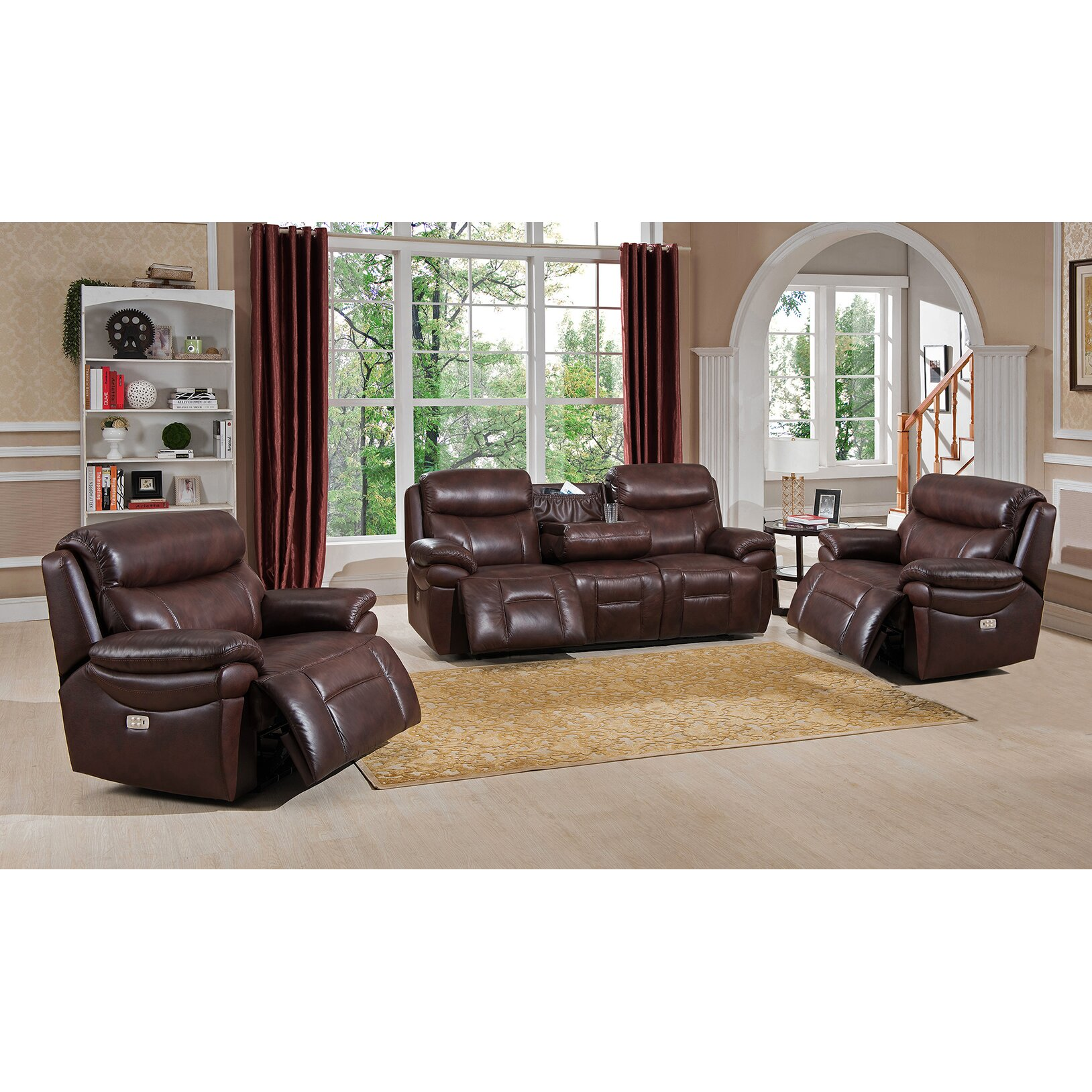 Three Piece Living Room Set Amax Sanford 3 Piece Leather Power Reclining Living Room Set With