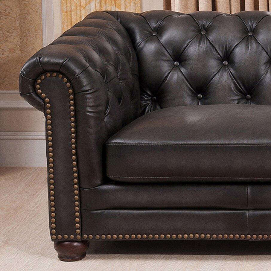 Amax Anaheim Leather Sectional Wayfair Ca