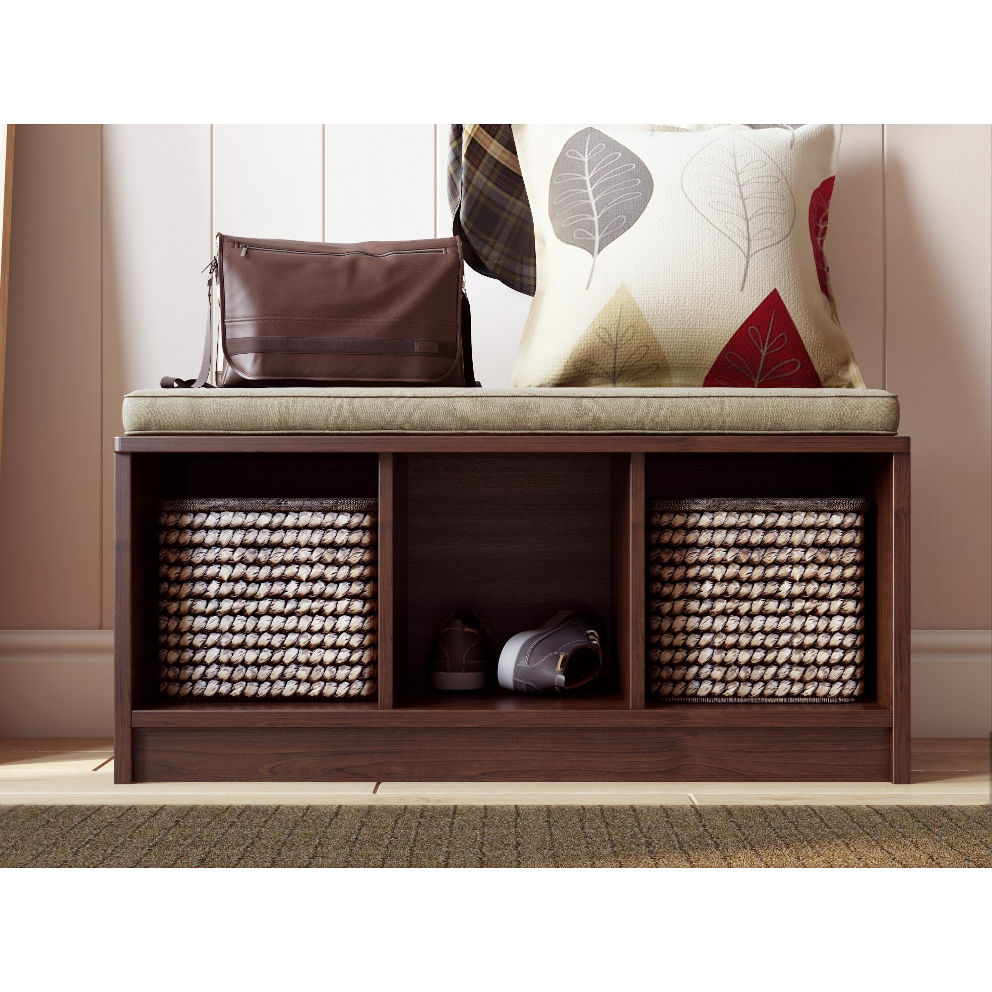 Andover Mills Ravenwood Upholstered Storage Bench: Andover Mills Wayside Wood Storage Hallway Bench & Reviews