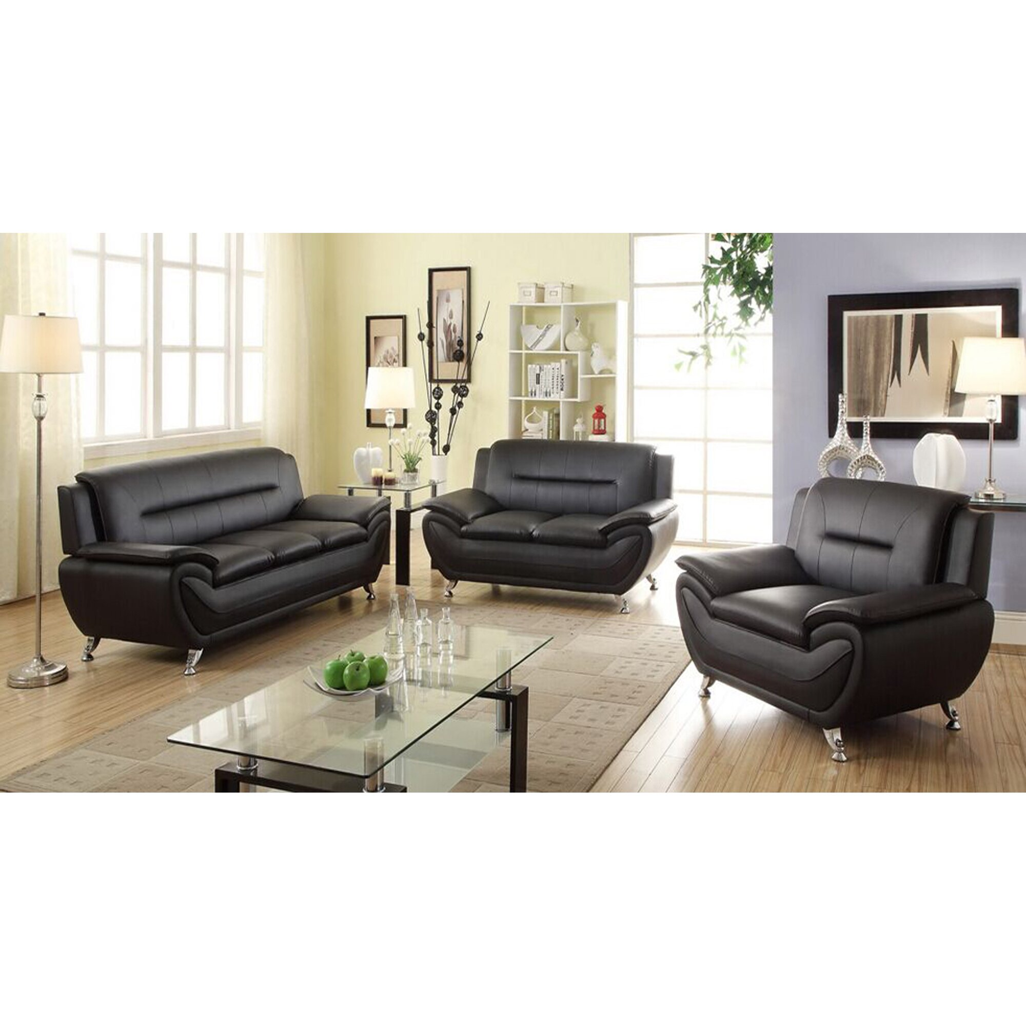 Modern Sofa Sets Living Room Living In Style Sophia 3 Piece Modern Living Room Sofa Set