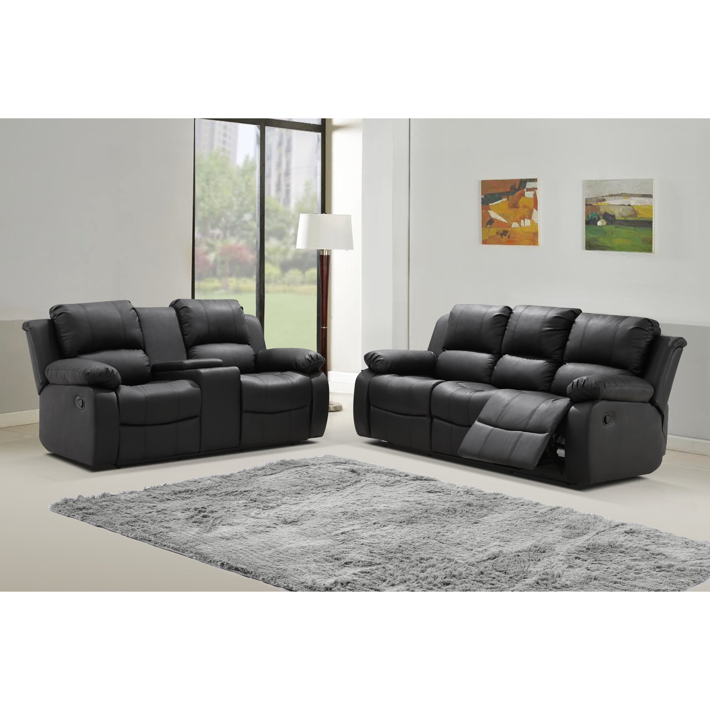 Living in style phoenix 2 piece bonded leather living room set