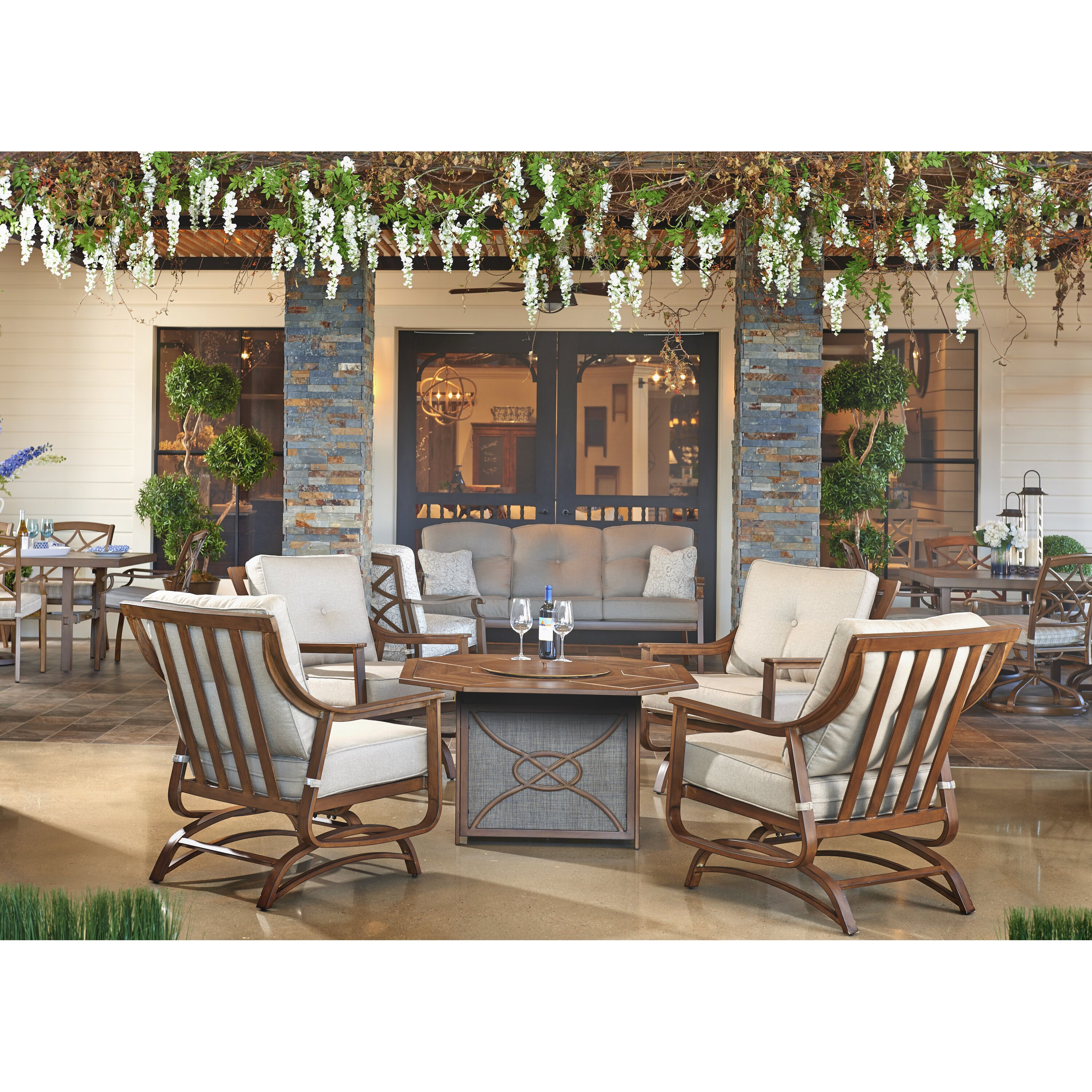 Trisha Yearwood Home Collection Outdoor Fire Pit 5 Piece Deep Group Living Room Furniture