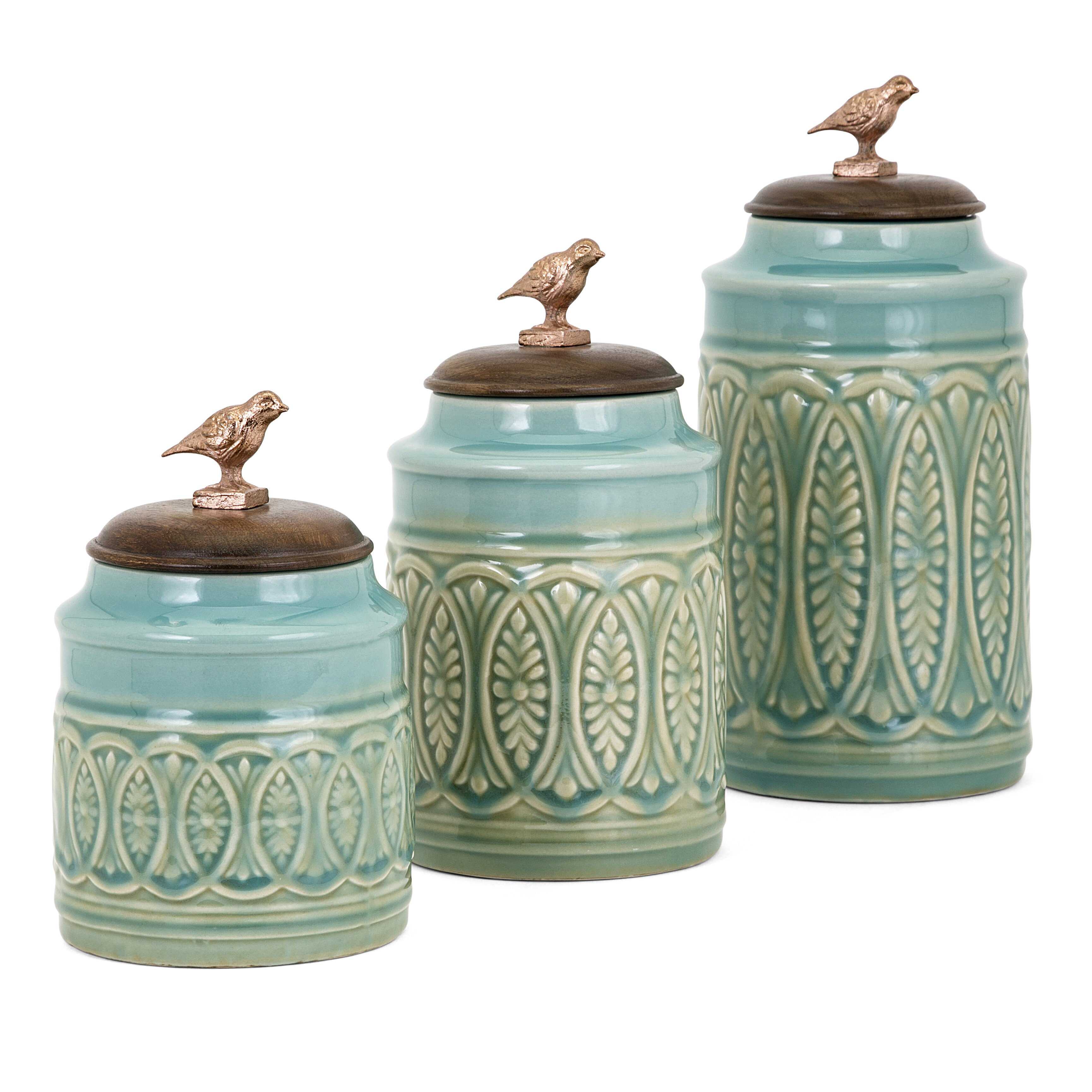 Green Canister Sets Kitchen Trisha Yearwood Home Collection Songbird 3 Piece Kitchen Canister