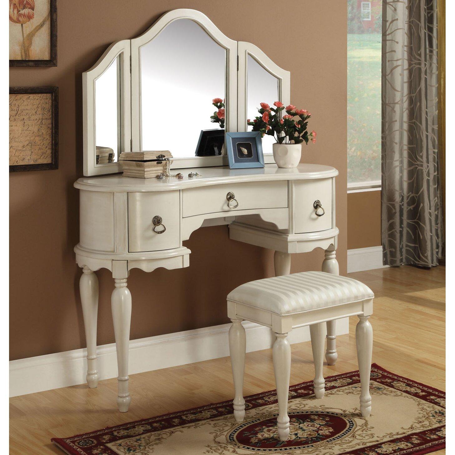 Infini Furnishings Makeup Vanity Set with Mirror & Reviews ...