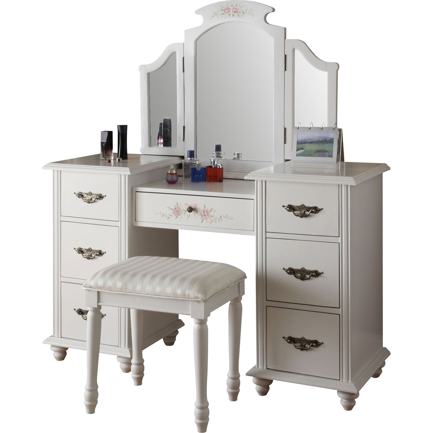 Infini Furnishings Makeup Vanity Set With Mirror Amp Reviews