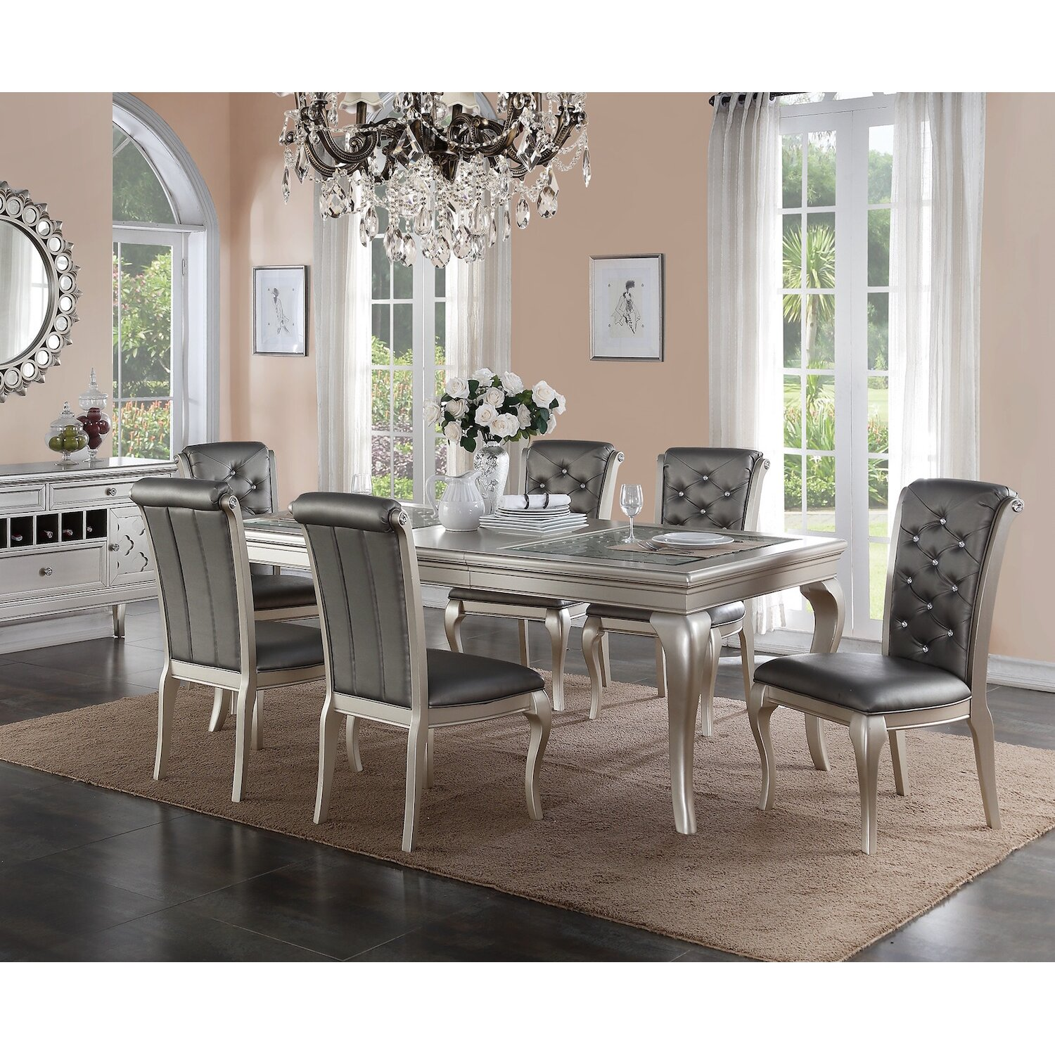7 Piece Dining Room Set: Infini Furnishings Adele 7 Piece Dining Set & Reviews