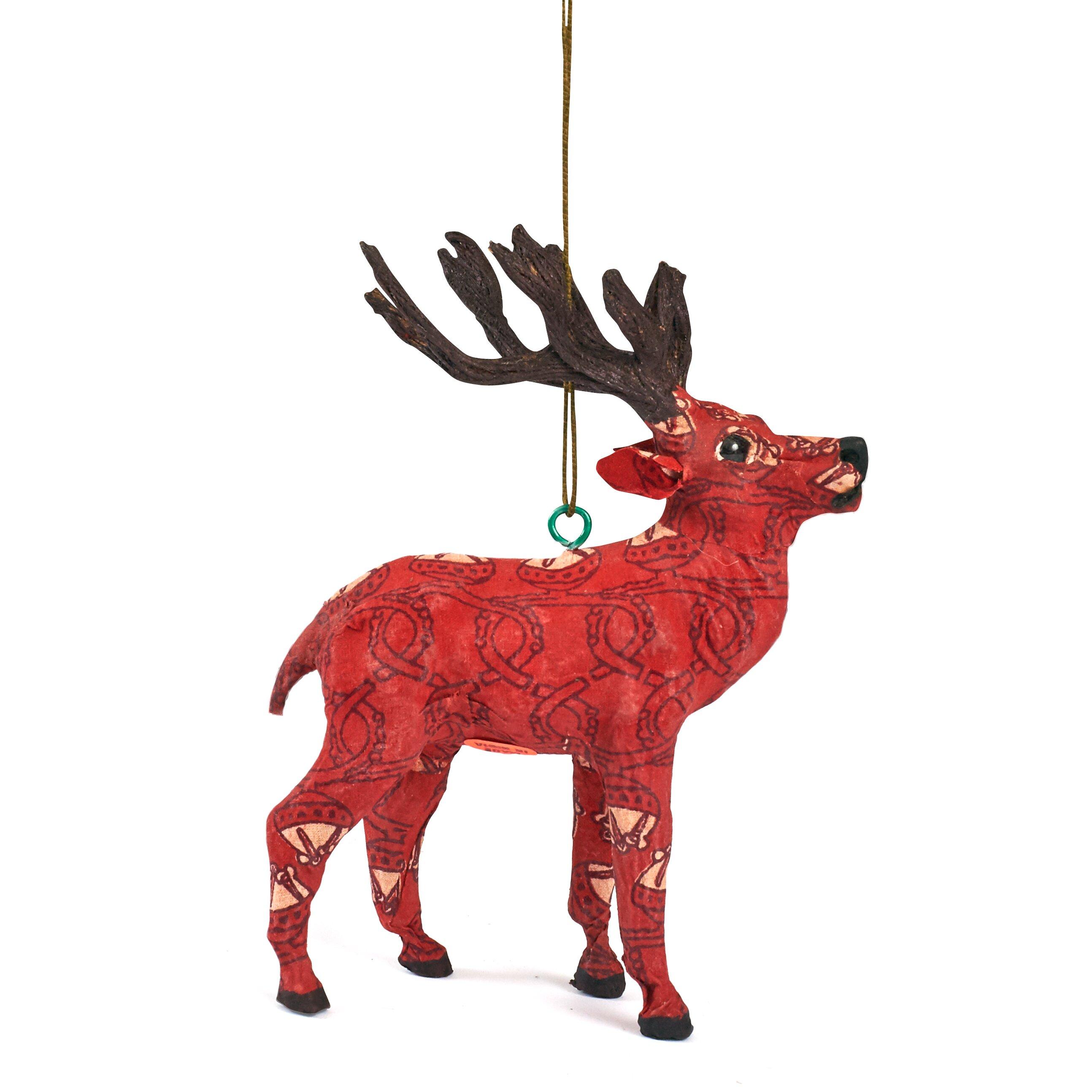 Reindeer christmas ornaments - Arcadia Home Handmade Paper Mache Reindeer Christmas Ornament