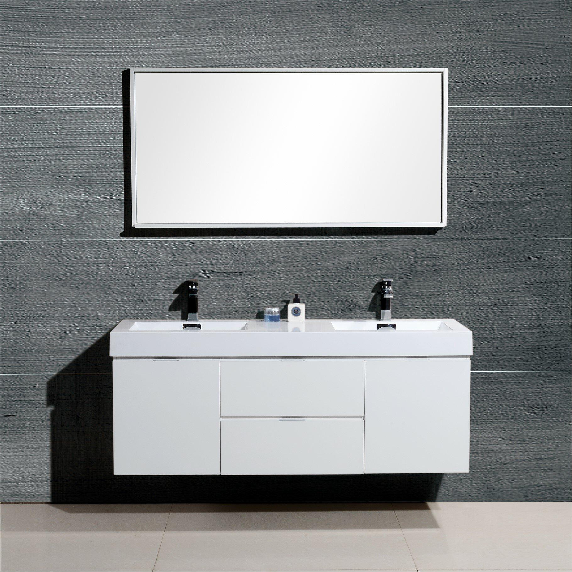 Kube bath bliss 60 double wall mount modern bathroom - Contemporary bathroom vanity sets ...