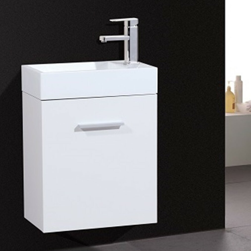 Kube Bath Bliss 18 quot  Single Wall Mount Modern Bathroom Vanity Set. Kube Bath Bliss 18  Single Wall Mount Modern Bathroom Vanity Set
