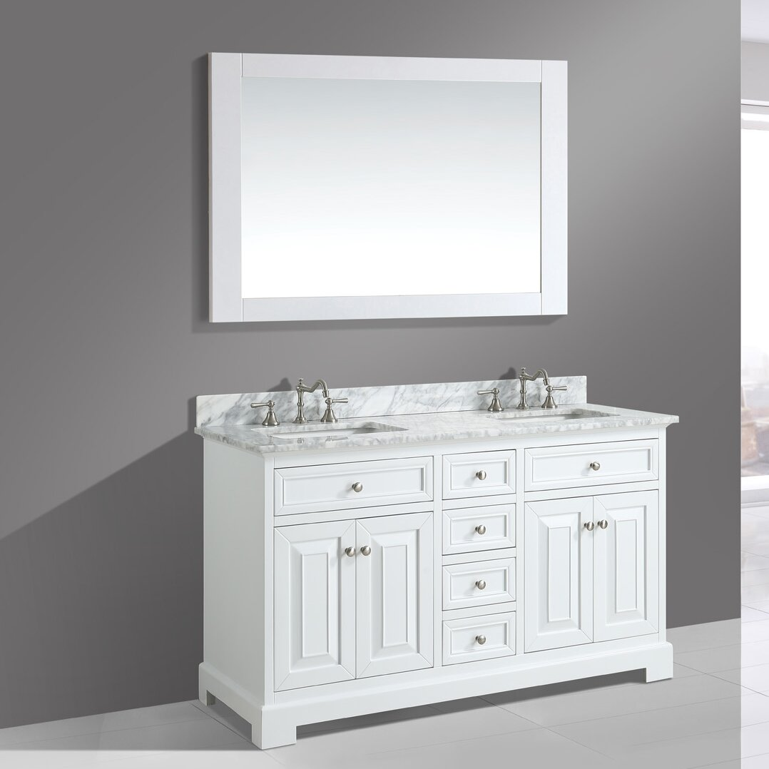 Bathroom sink cabinets white - Urban Furnishings Rochelle 60 Quot Double Bathroom Sink Vanity Set With Mirror