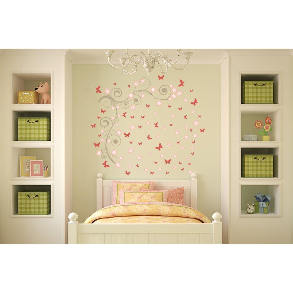 home loft concept wandtattoo pink butterflies vines. Black Bedroom Furniture Sets. Home Design Ideas